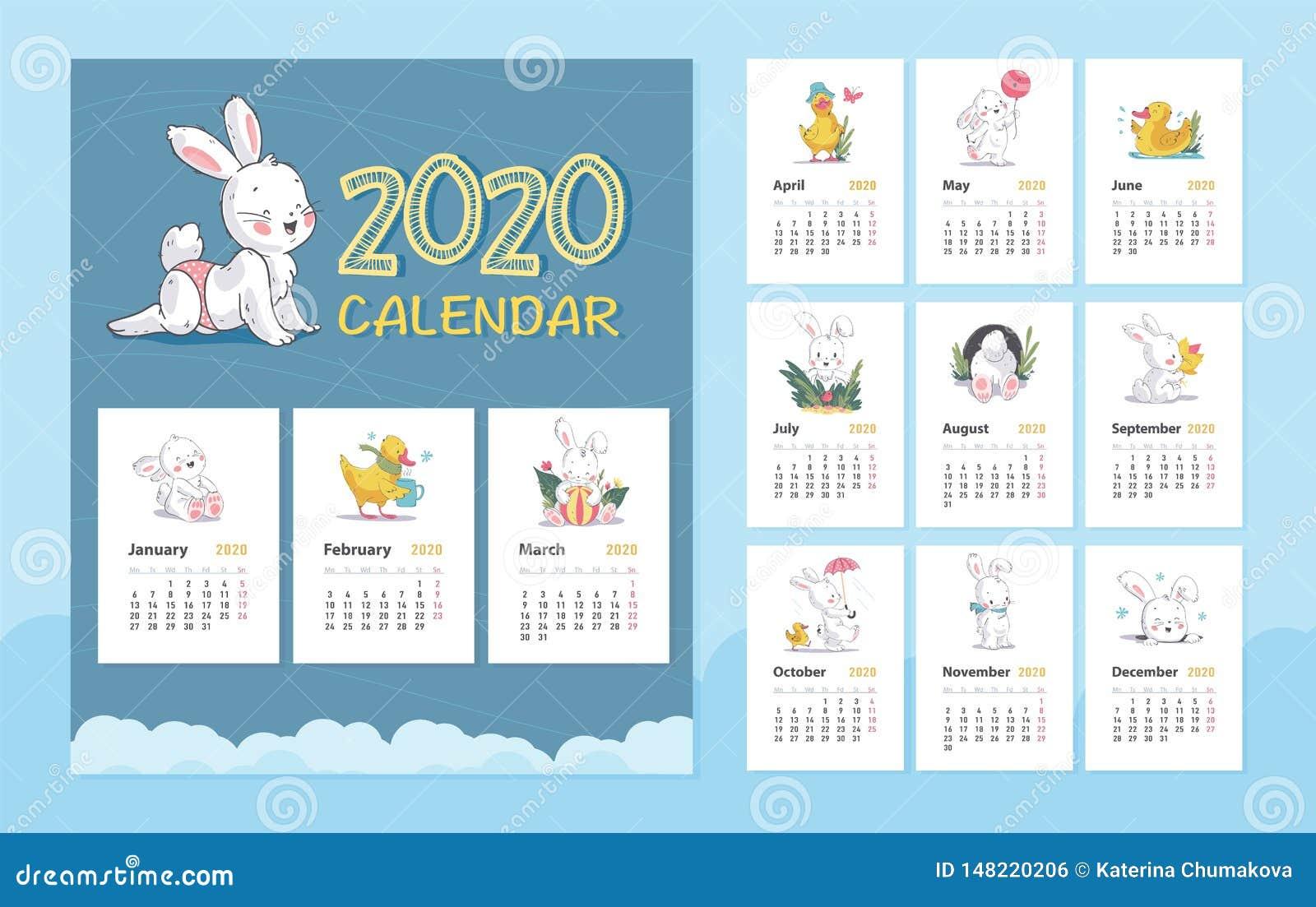 Animal Calendar 2020 Vector 2020 Baby Calendar Design Template With Cute White Bunny