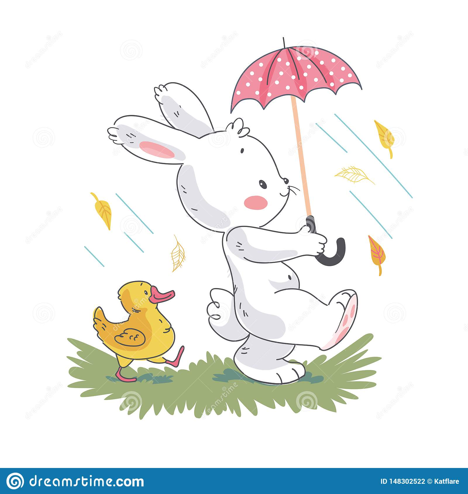 Vector flat illustration of cute white baby bunny character and little duck walking under umbrella. Hand drawn style.