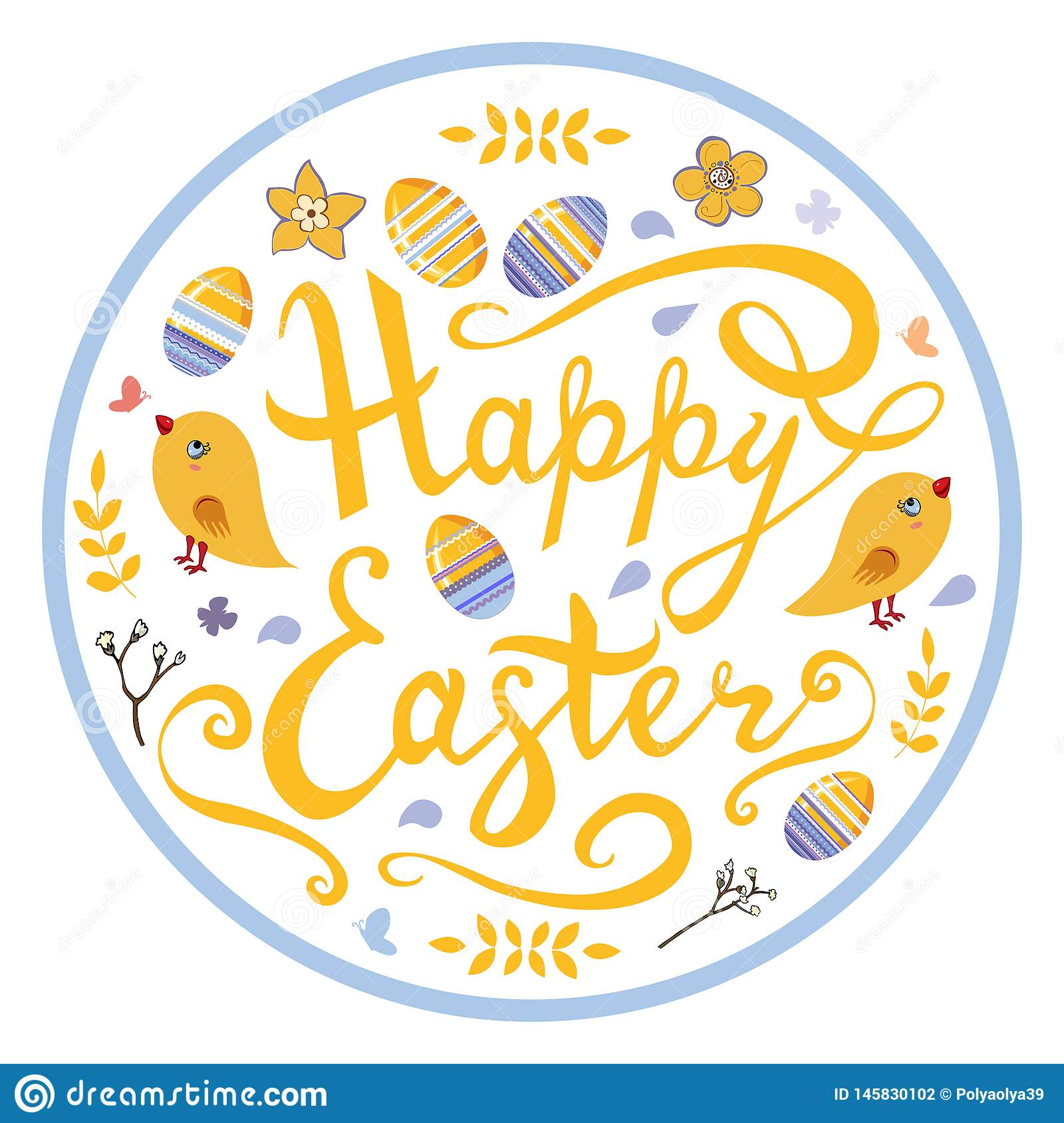 Happy Easter lettering with birds,eggs, herbs and flowers in circle isolated on white background.
