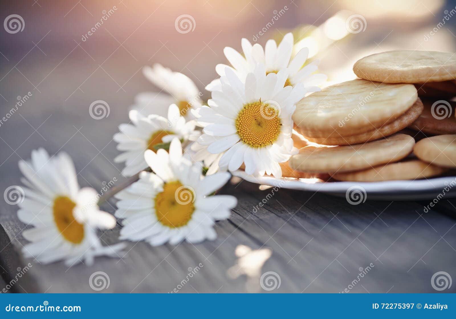 Download Печенья на плите и стоцвете Стоковое Изображение - изображение насчитывающей лепесток, завтраки: 72275397