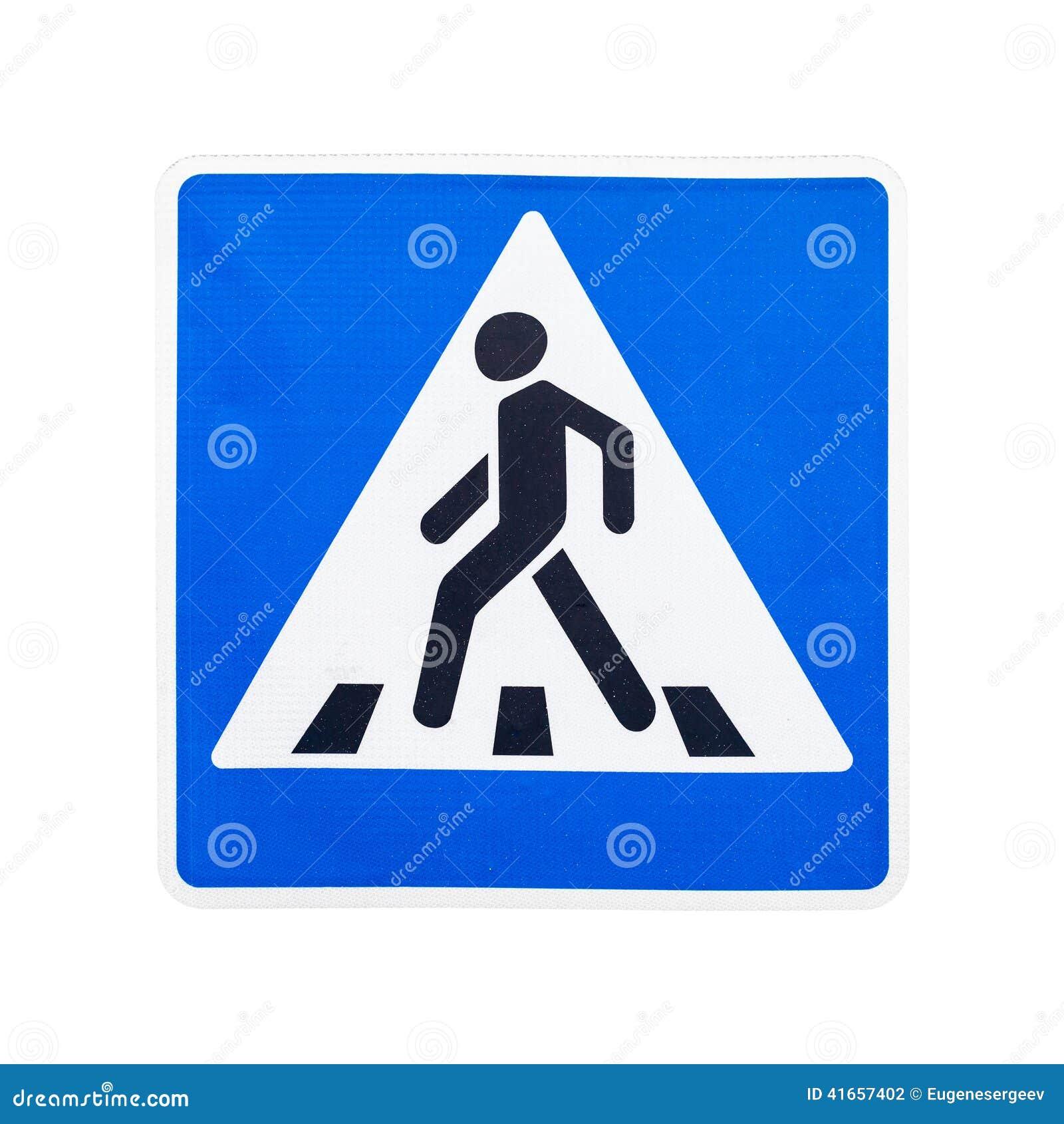 Пешеходный переход дорожного знака изолированного на белизне