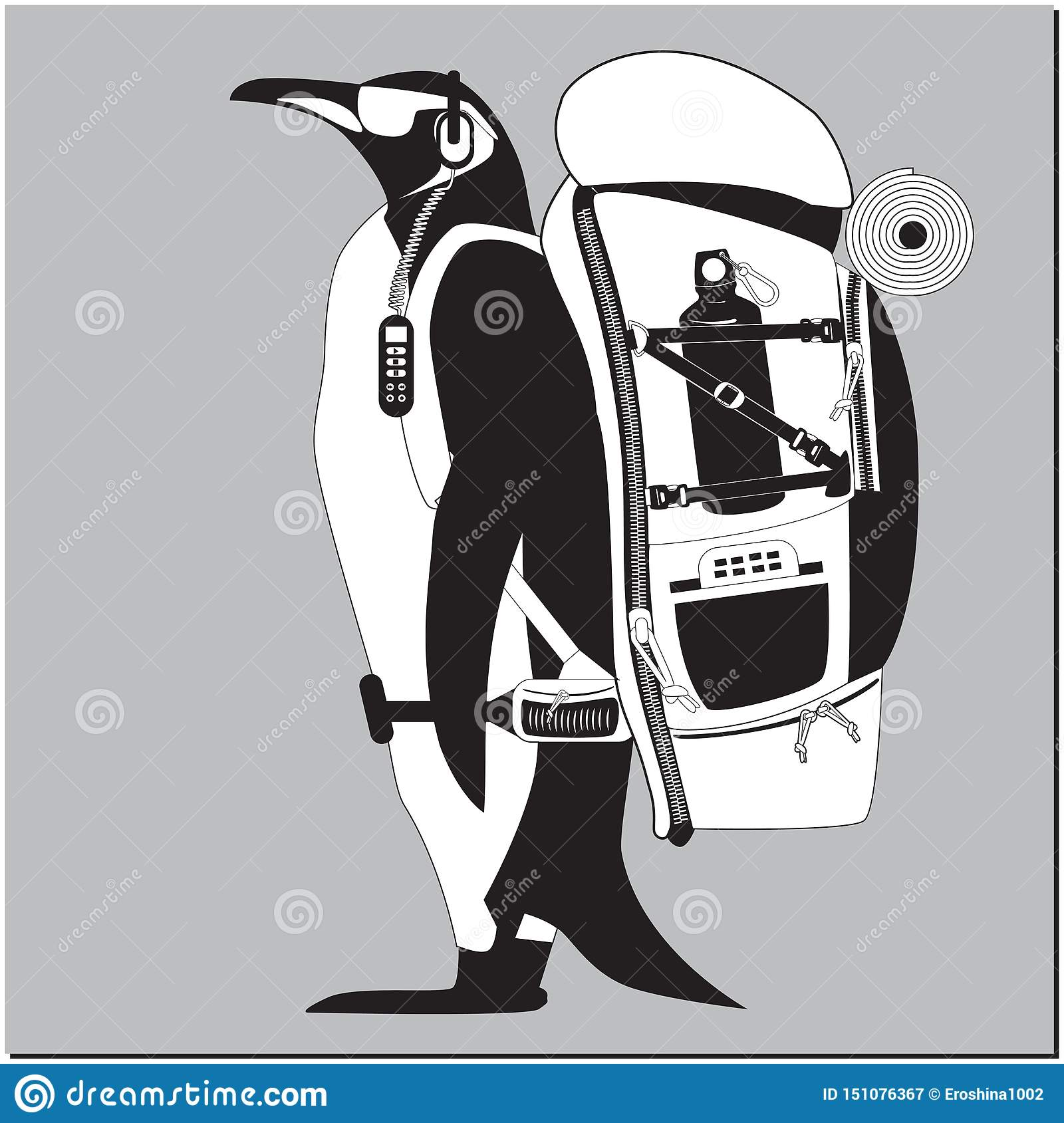 Penguin with backpack