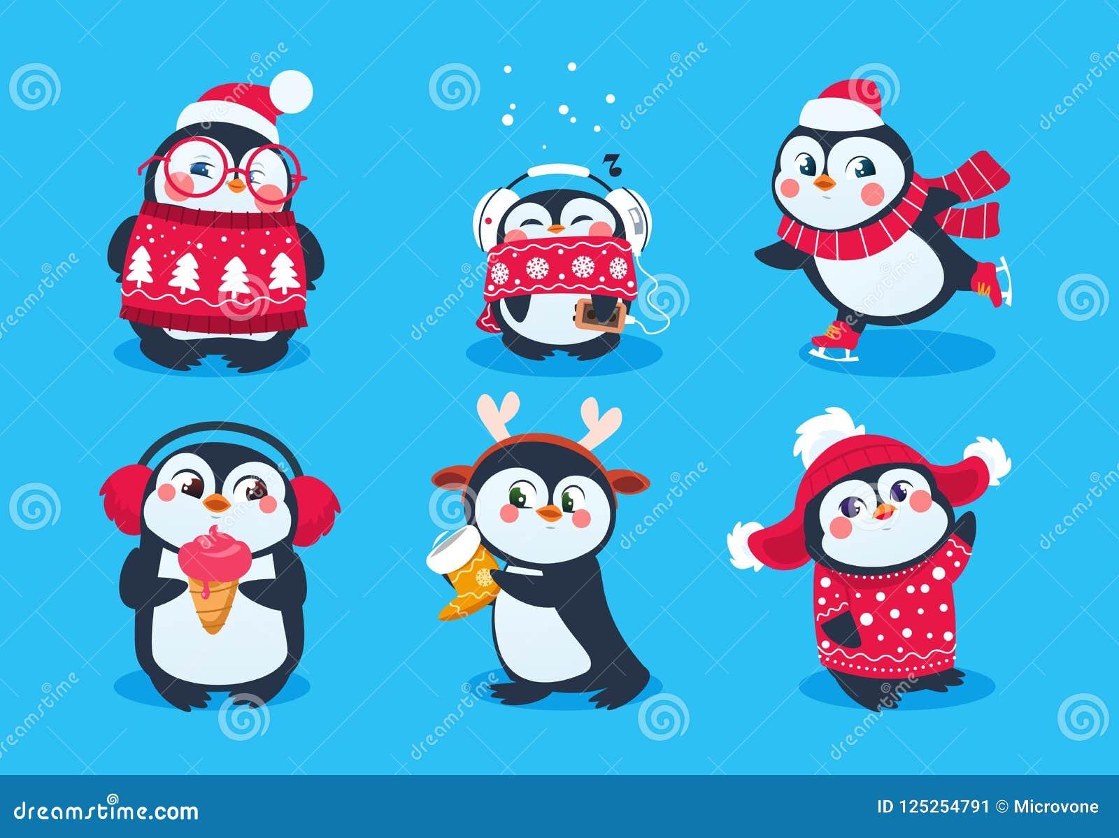 Пингвин рождества Смешные животные снега, милые персонажи из мультфильма пингвинов младенца в шляпе зимы Изолированный комплект в