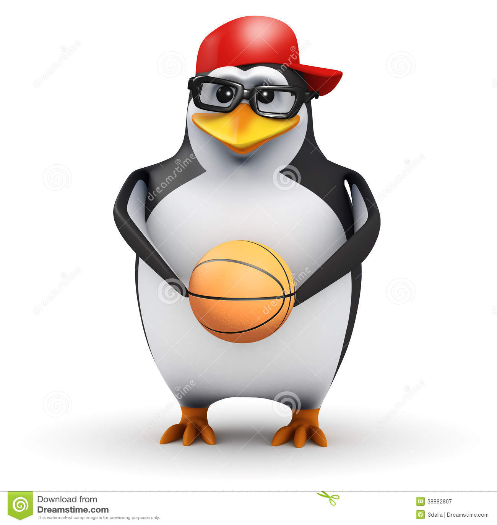 пингвин 3d держит баскетбол
