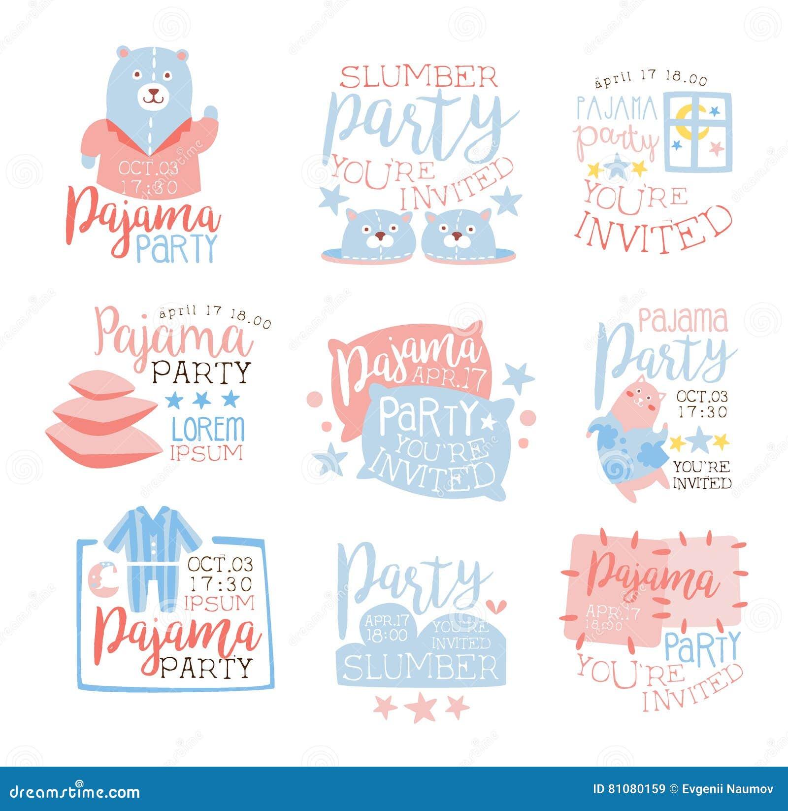Пинк и голубыми Girly дети приглашения партии пижамы установленные шаблонами приглашая для карточек Sleepover Pyjama бездействия