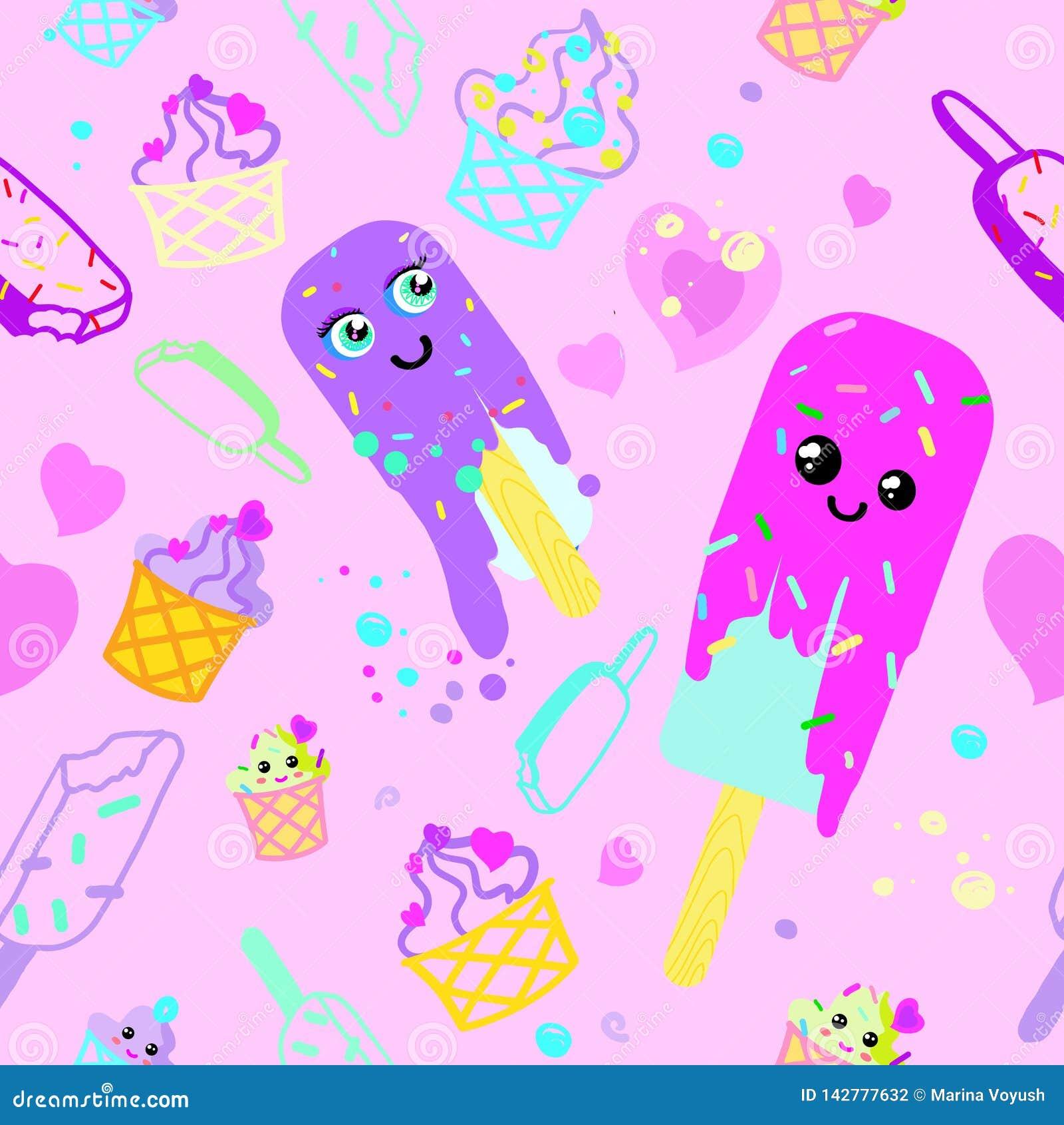 Пинк мороженого картины вектора и пурпурное
