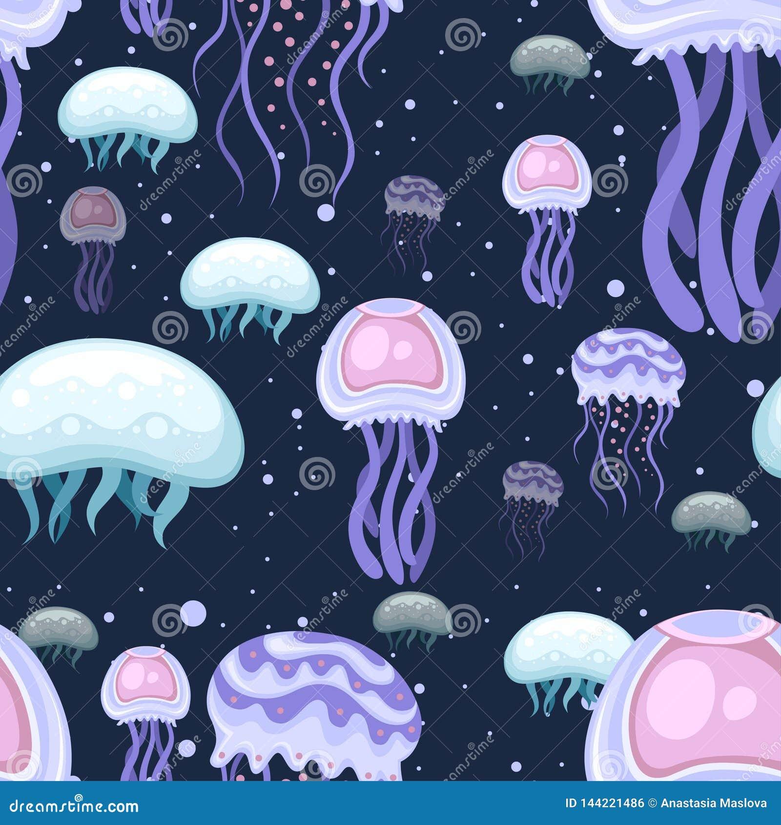 E Пинк моря и пурпурные медузы Тропическое подводное животное Организм Медузы акватический, дизайн стиля мультфильма r