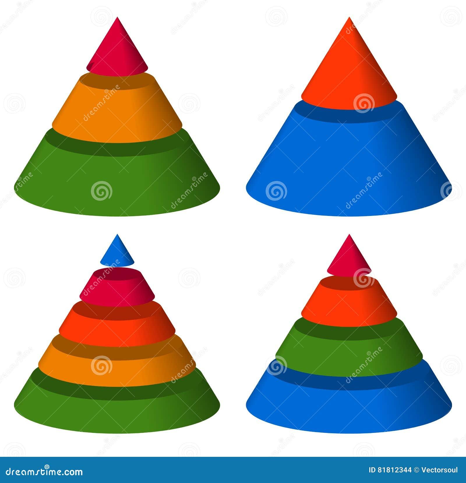 Пирамида, диаграммы конуса 3-2-5-4 уровней Многоуровневое gra треугольника 3d