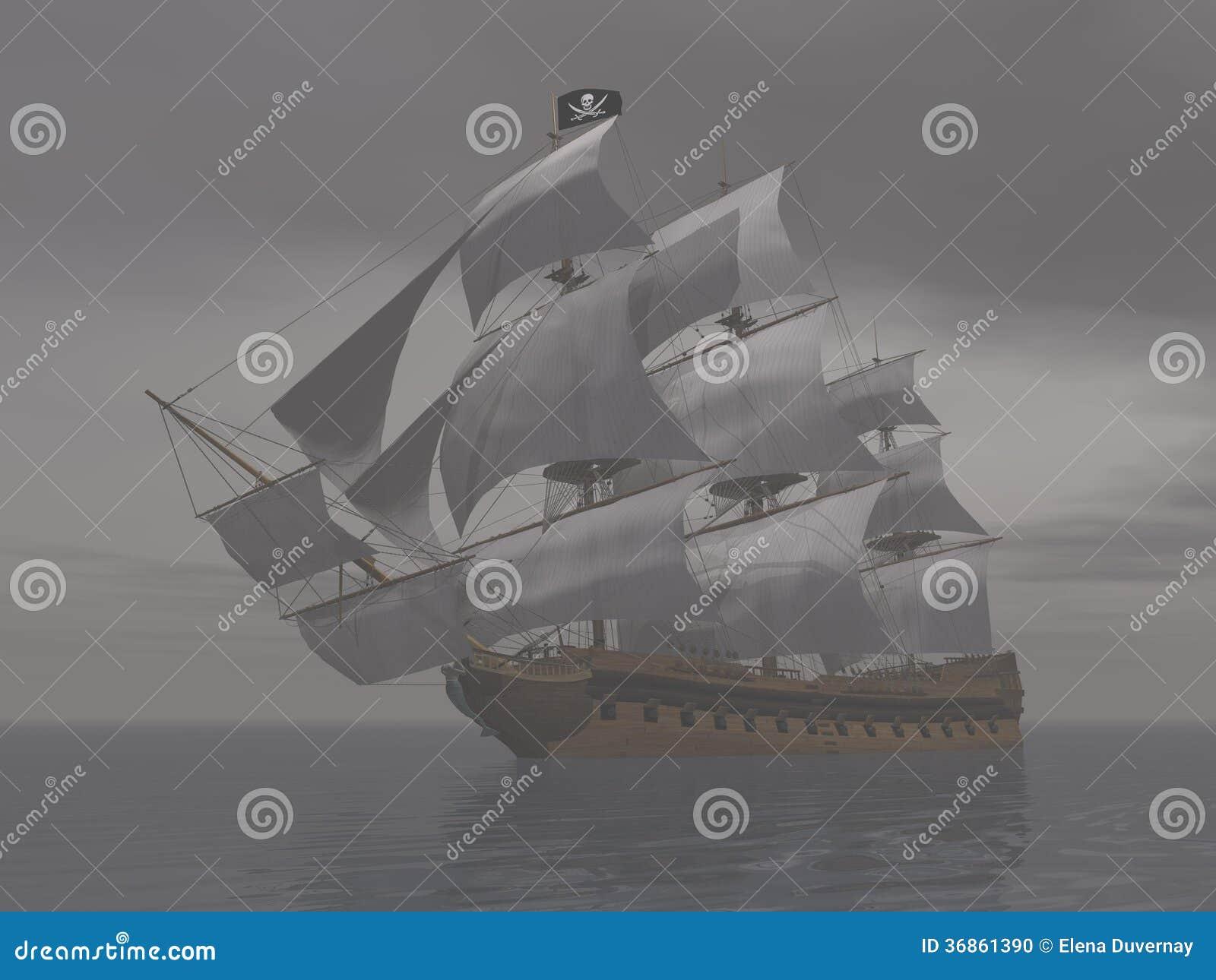 Пиратский корабль в тумане 3D представляет