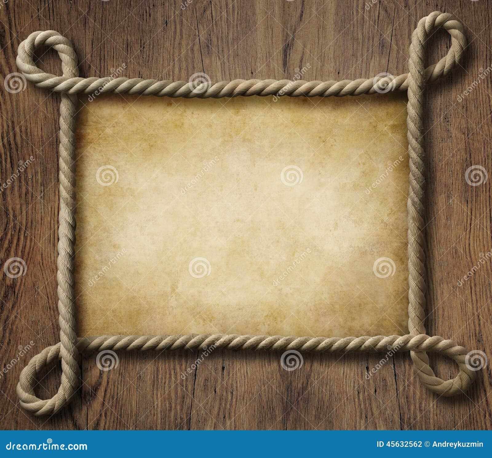 Пиратствуйте рамку веревочки темы морскую с старой бумагой