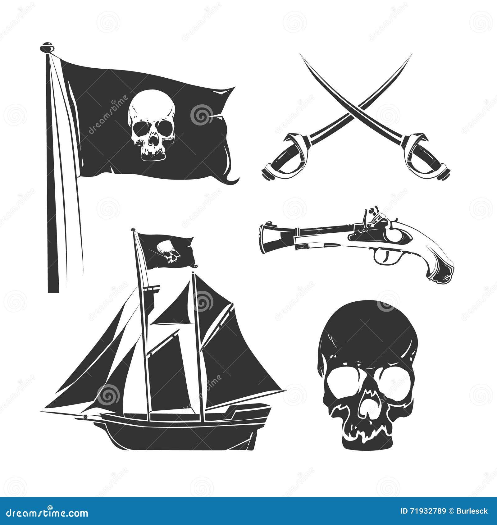 Пиратствуйте элементы для винтажного логотипа, ярлыков и значков вектора