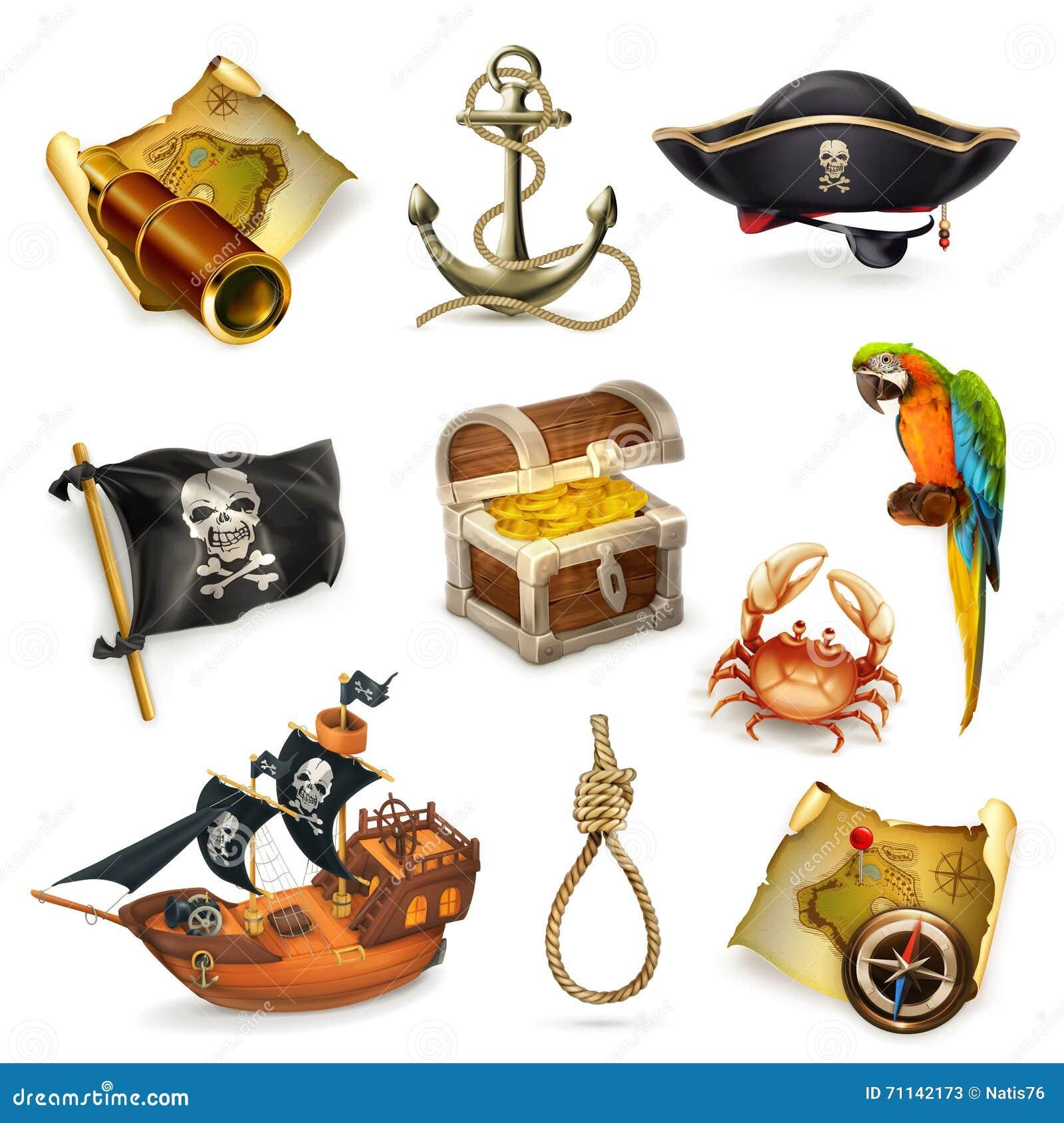 Пираты моря, комплект значка вектора