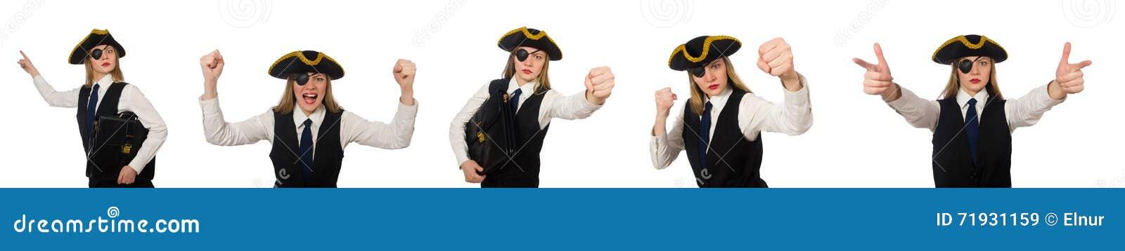 Пират босса женщины изолированный на белизне