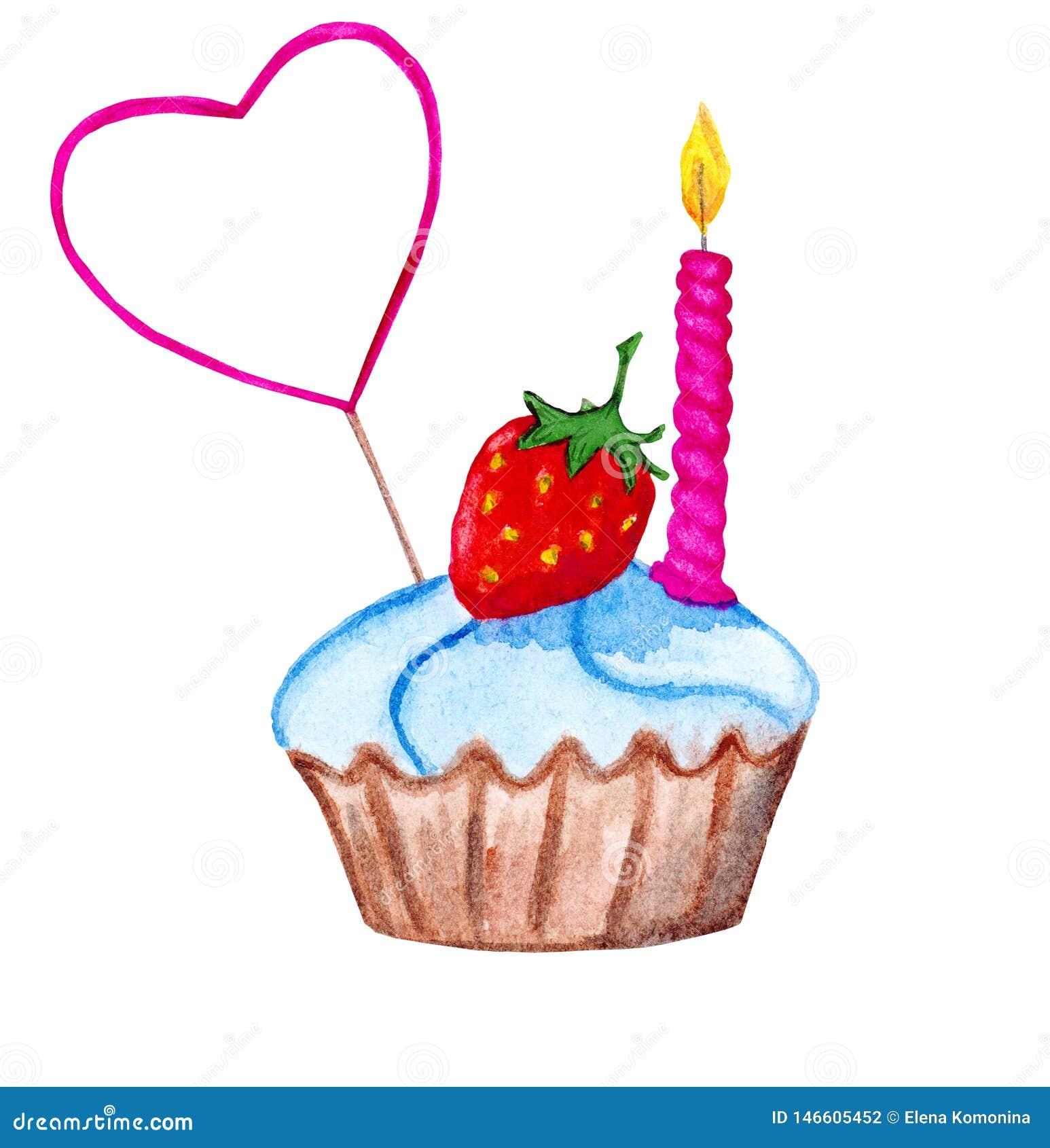 Пирожное с strawberrry, выбором торта и свечой