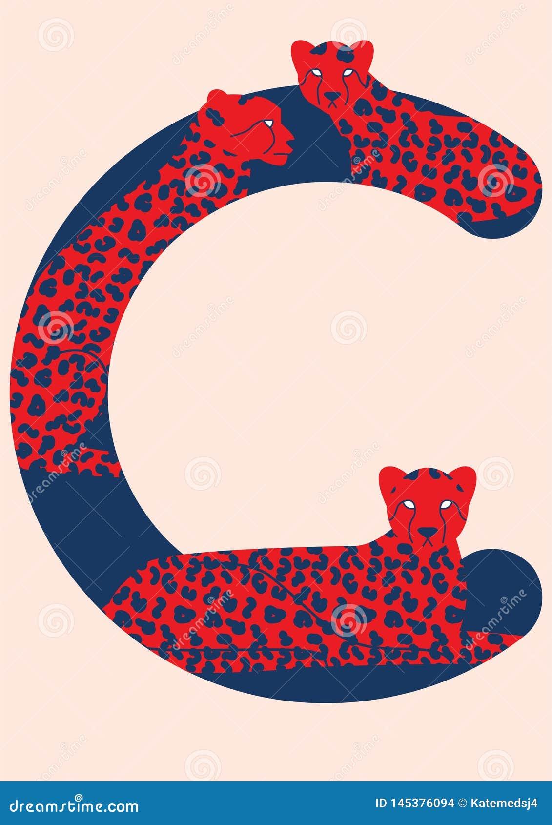 Алфавит вектора животный Письма вектора с животными Третье письмо алфавита