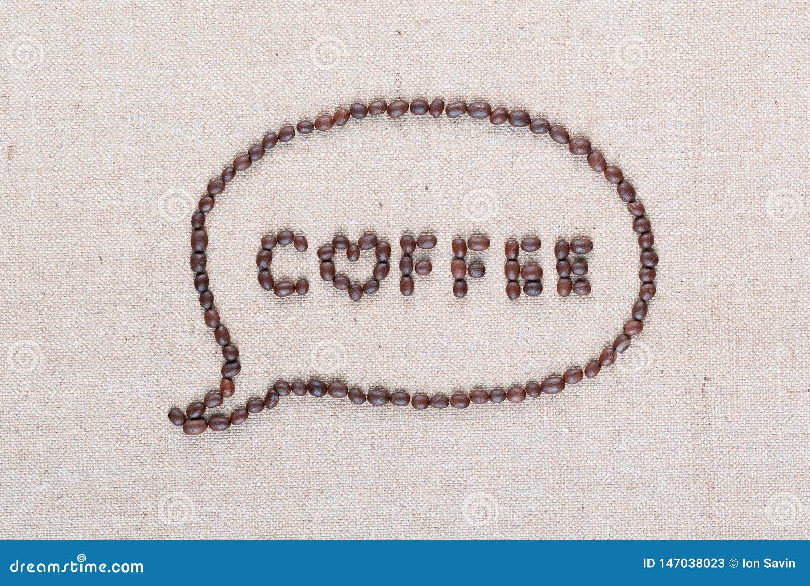 Письма кофе в облаке беседы от кофейных зерен на холсте белья аранжировали близко вверх
