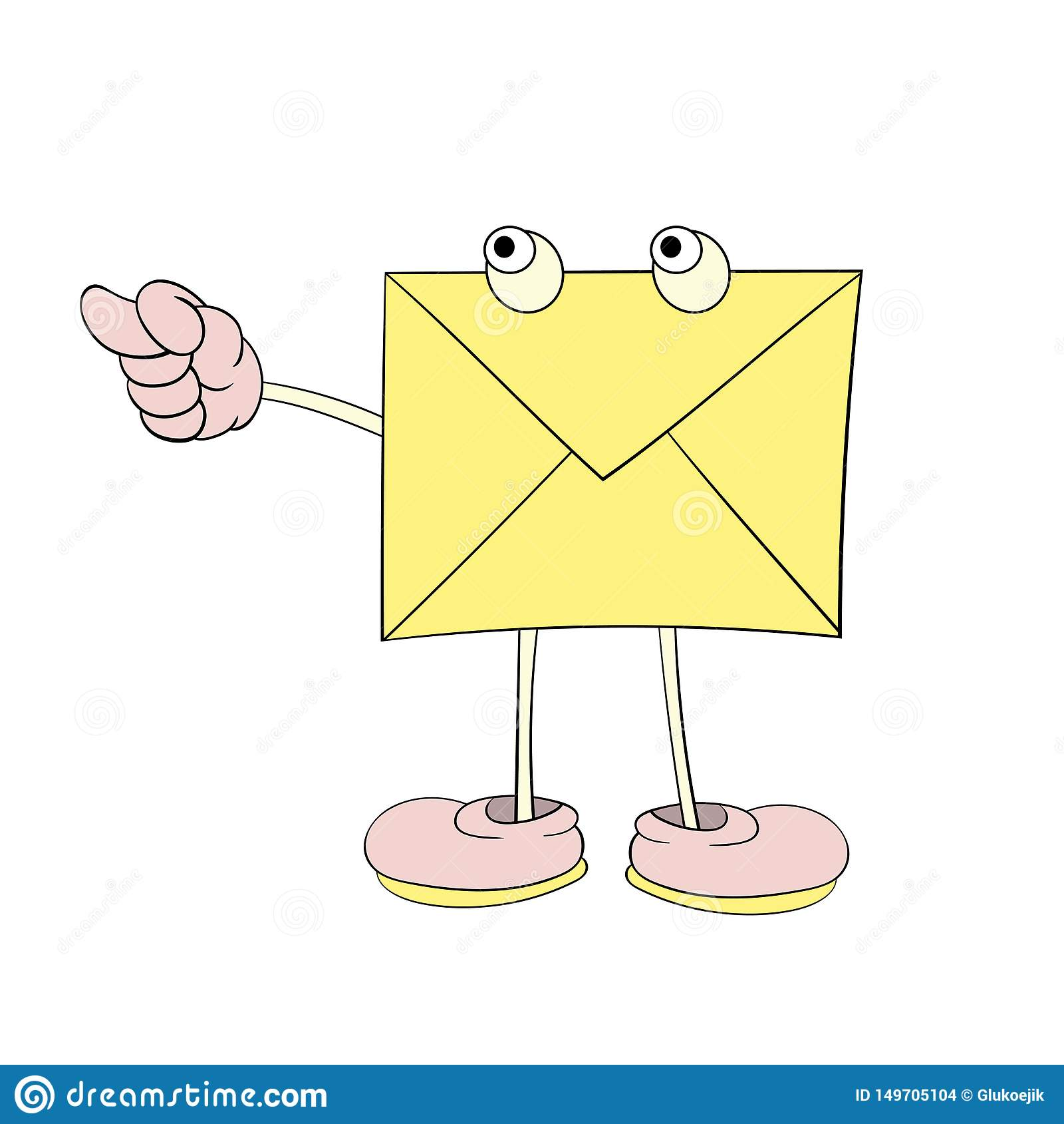 Письмо с глазами показывает неприличный жест, диаграмму мультфильма, значок, карикатуру
