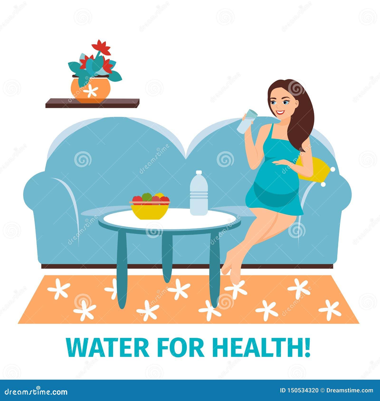 Питьевая вода Беременная счастливая женщина со стеклом Концепция выпивая чистой воды o m