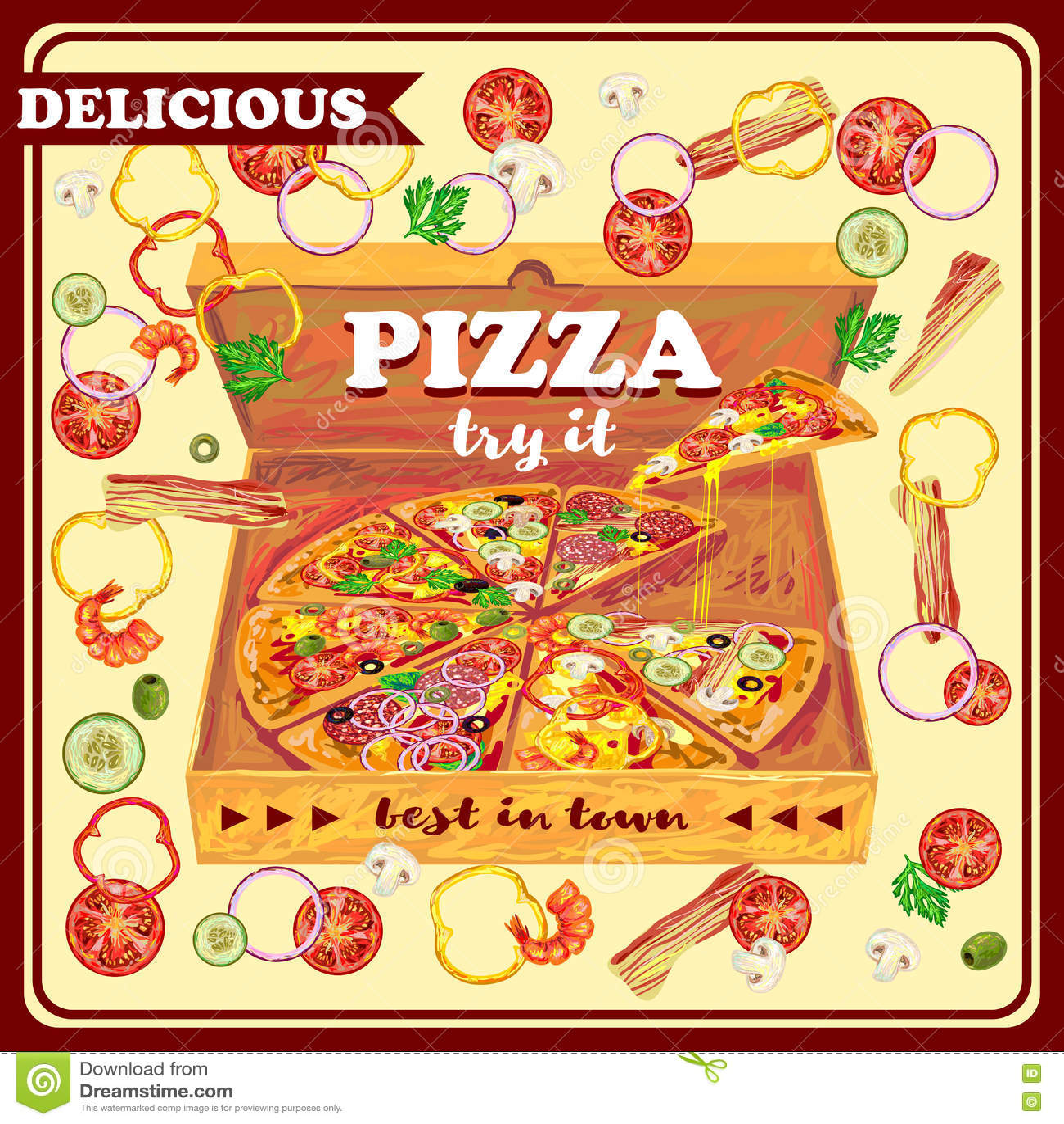 Пицца в открытом дизайне коробки