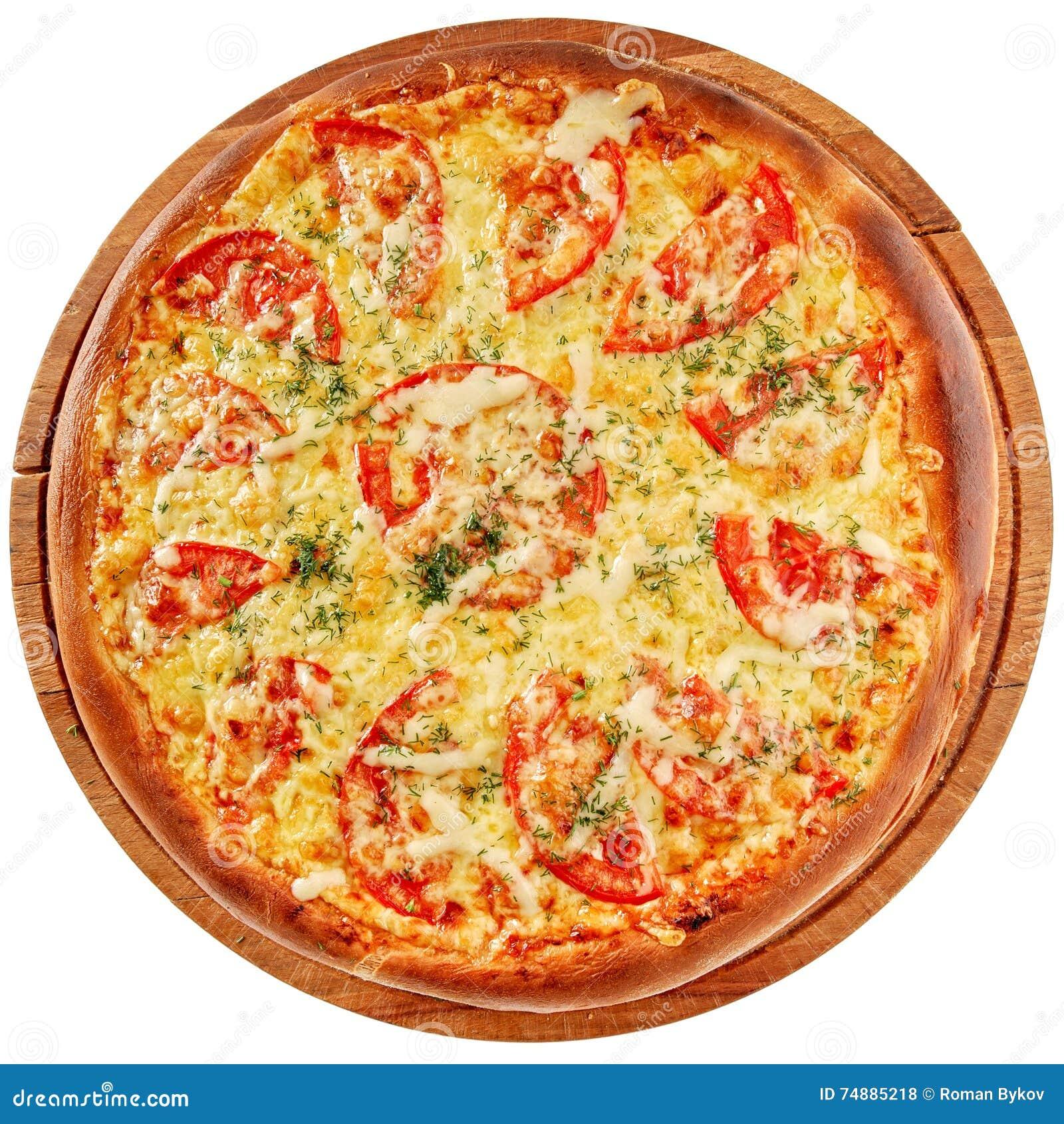 Пицца с пряными цыпленком и томатами
