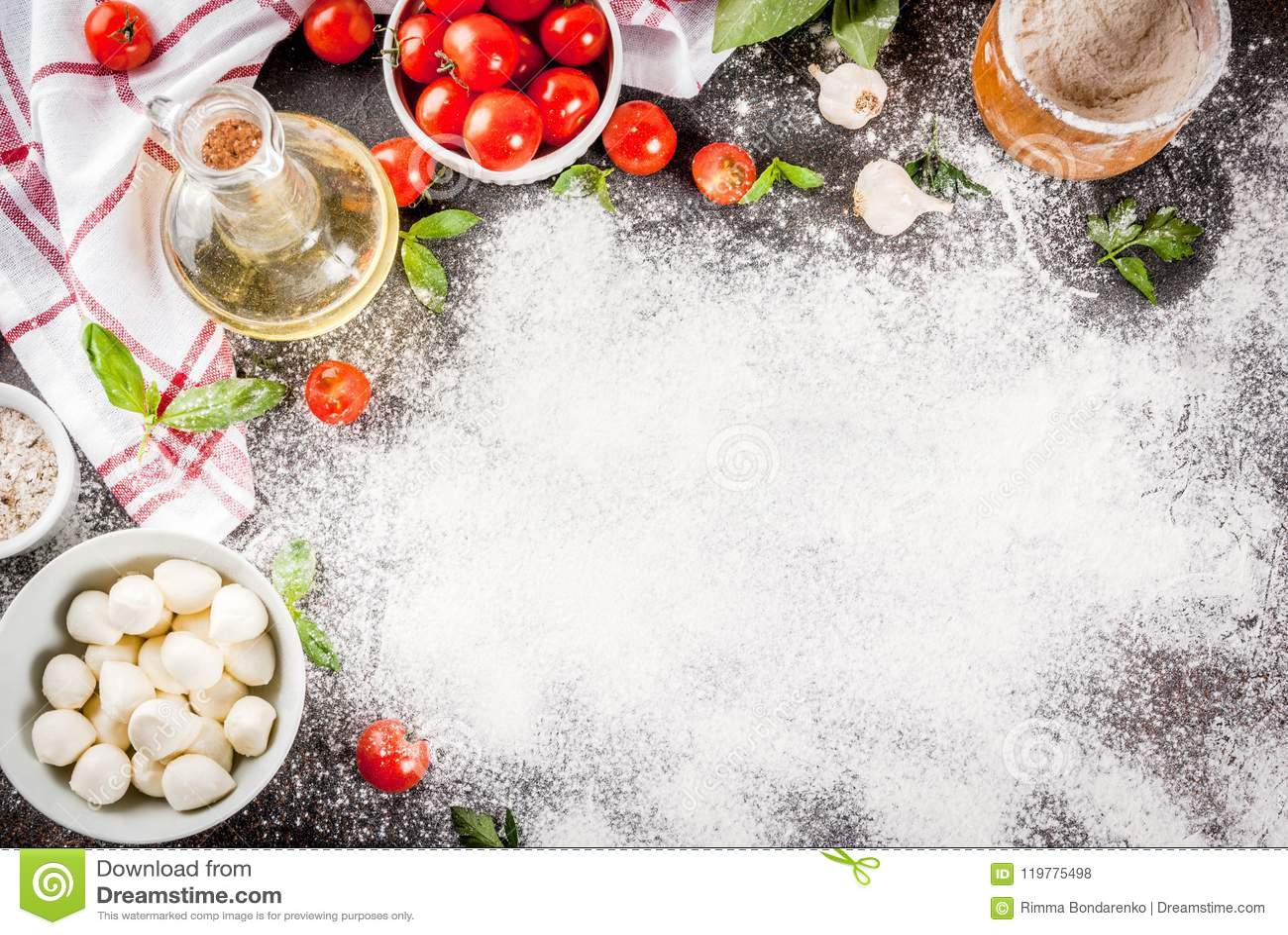 Пищевые ингредиенты итальянки пиццы макаронных изделий
