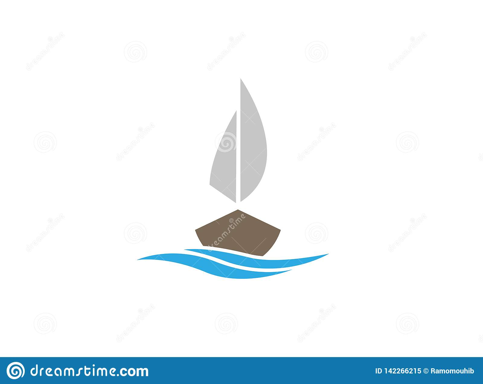 Плавание яхты в море с meer для логотипа