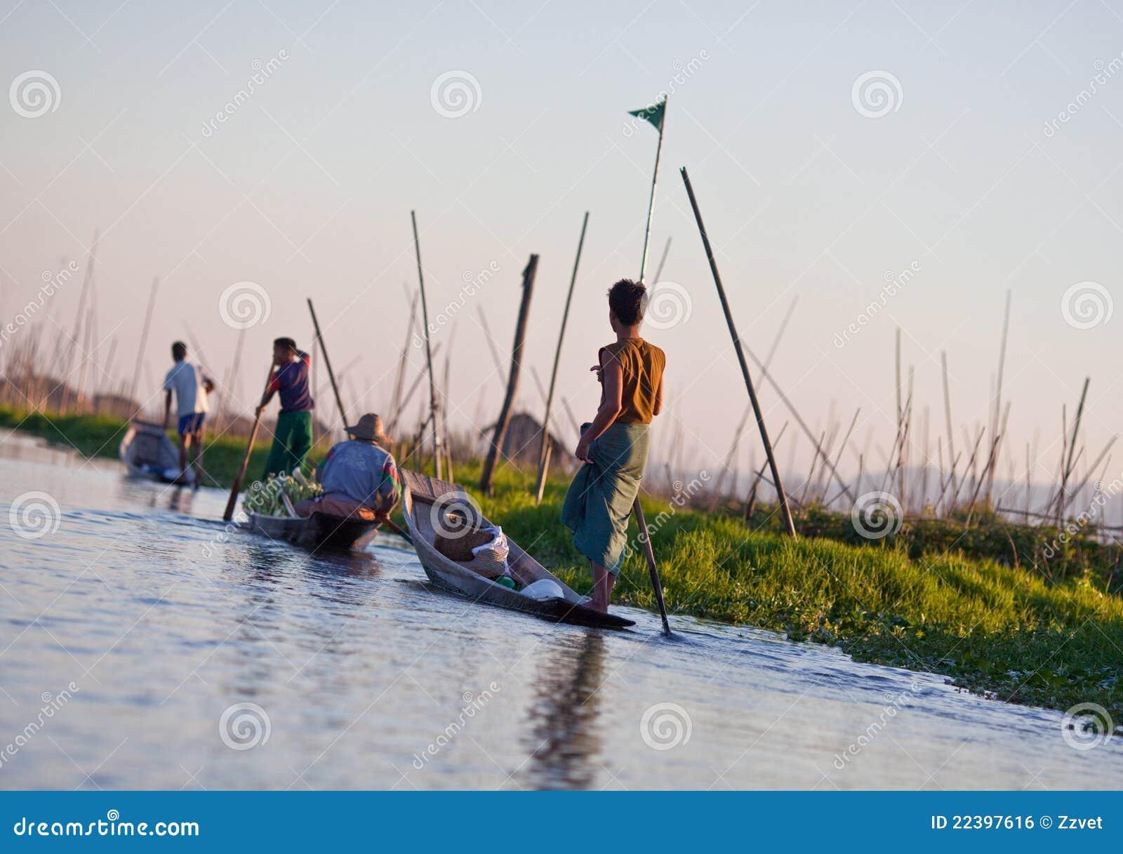 плавая положение Шани myanmar озера inle сада