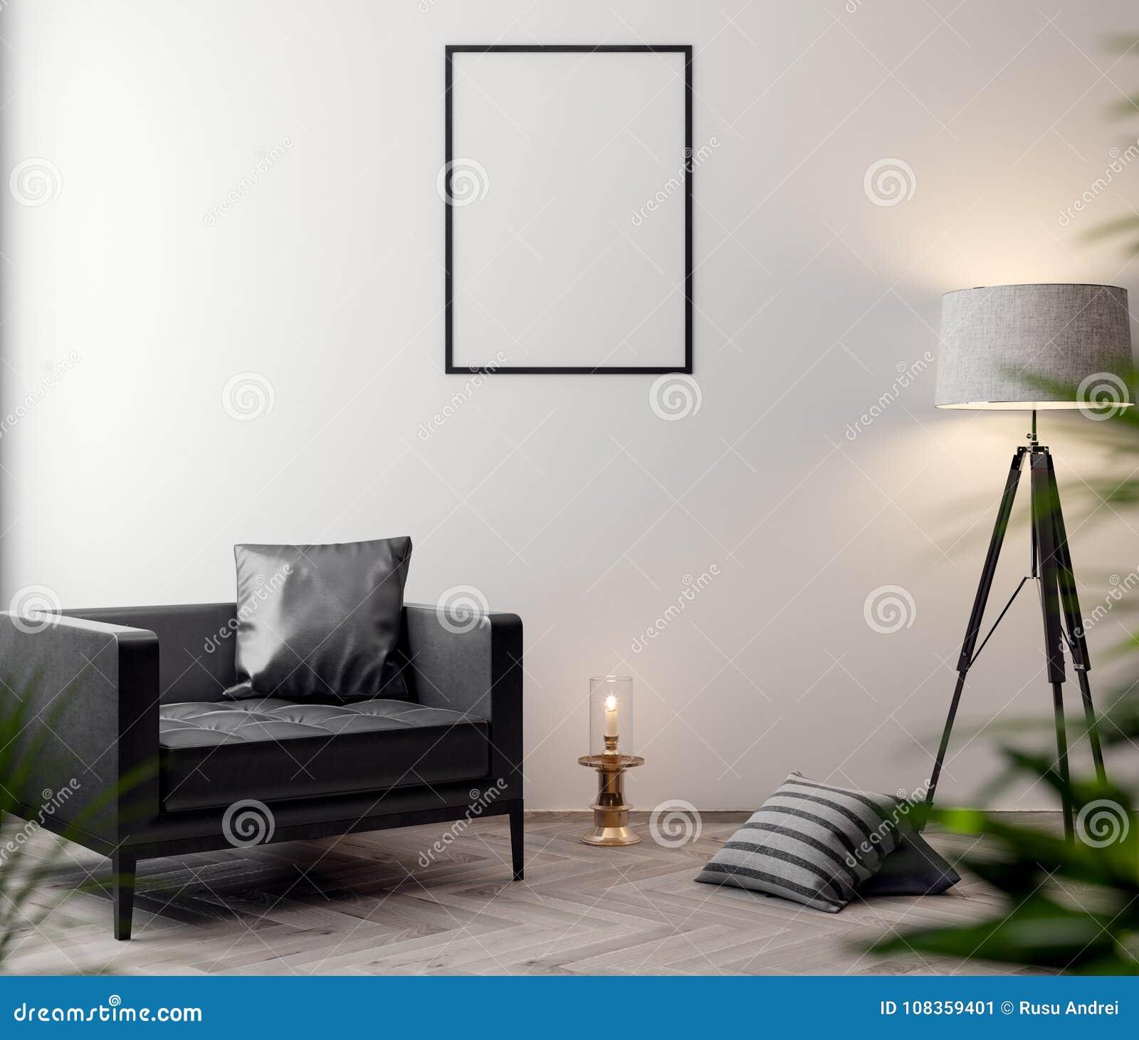 Плакат в интерьере, модель-макета иллюстрация 3D современного дизайна