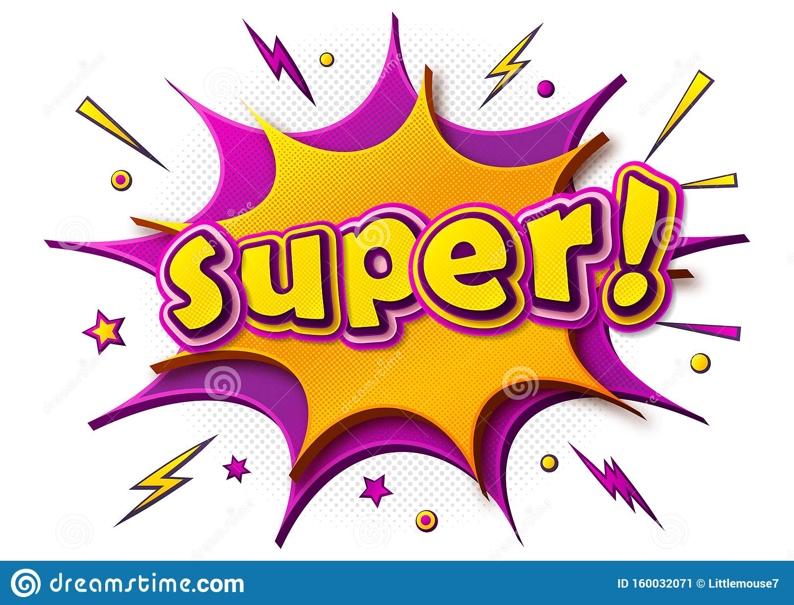 """Плакат комиксов с надписью """"Супер"""" на речевом пузыре Иллюстрация вектора -  иллюстрации насчитывающей утеха, цветасто: 160032071"""