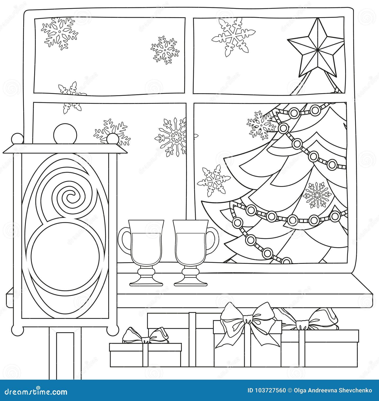 плакат темы Xmas с рождественской елкой звездой светом