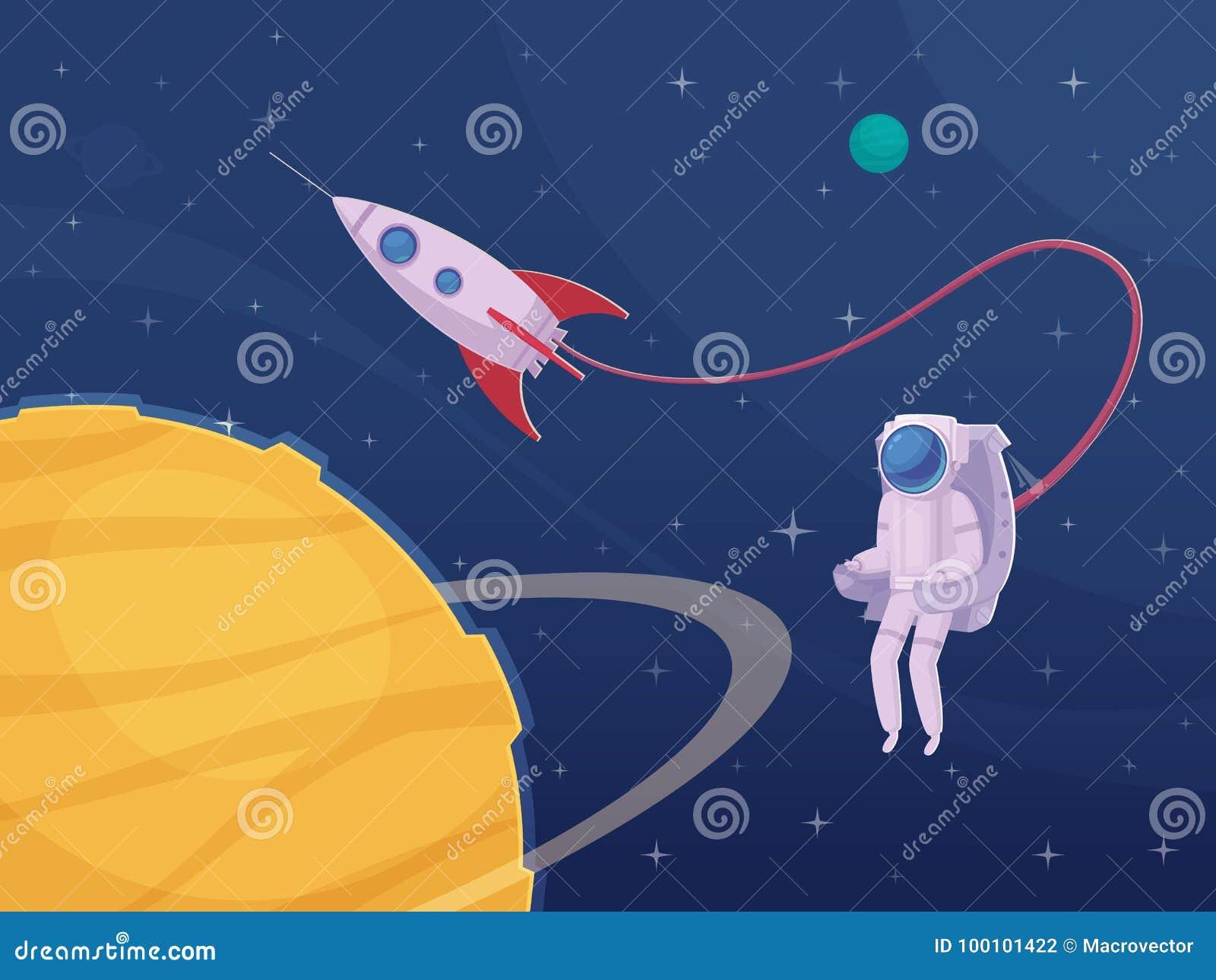 Плакат шаржа работы вне космического корабля астронавта