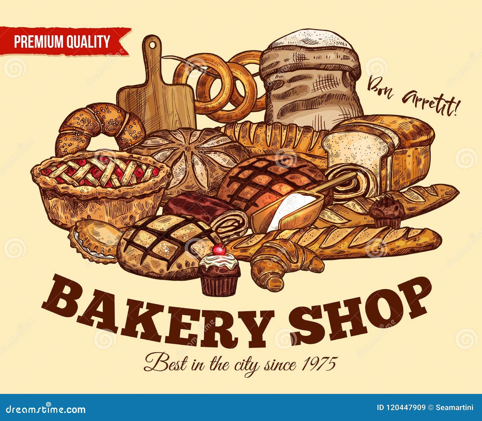 Плакат эскиза хлеба вектора для магазина хлебопекарни