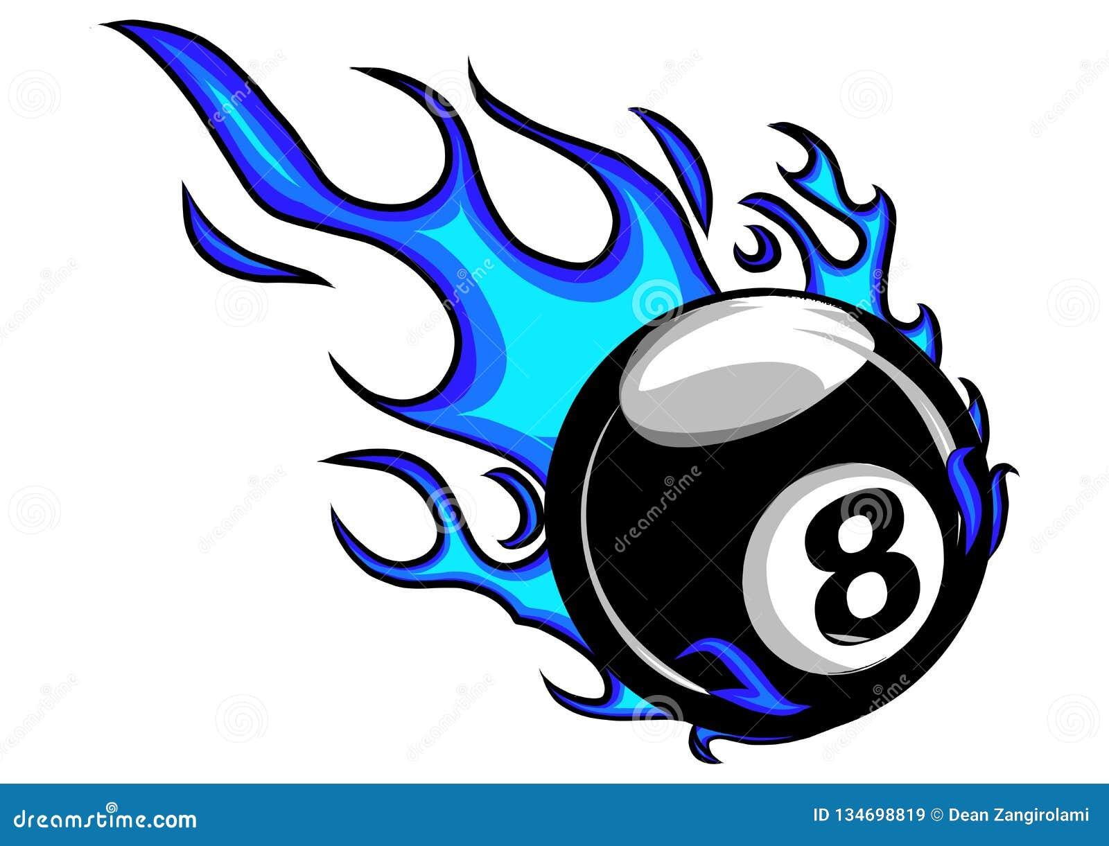 Пламенеющий шарж вектора шарика биллиардов 8 горя с огнем пылает