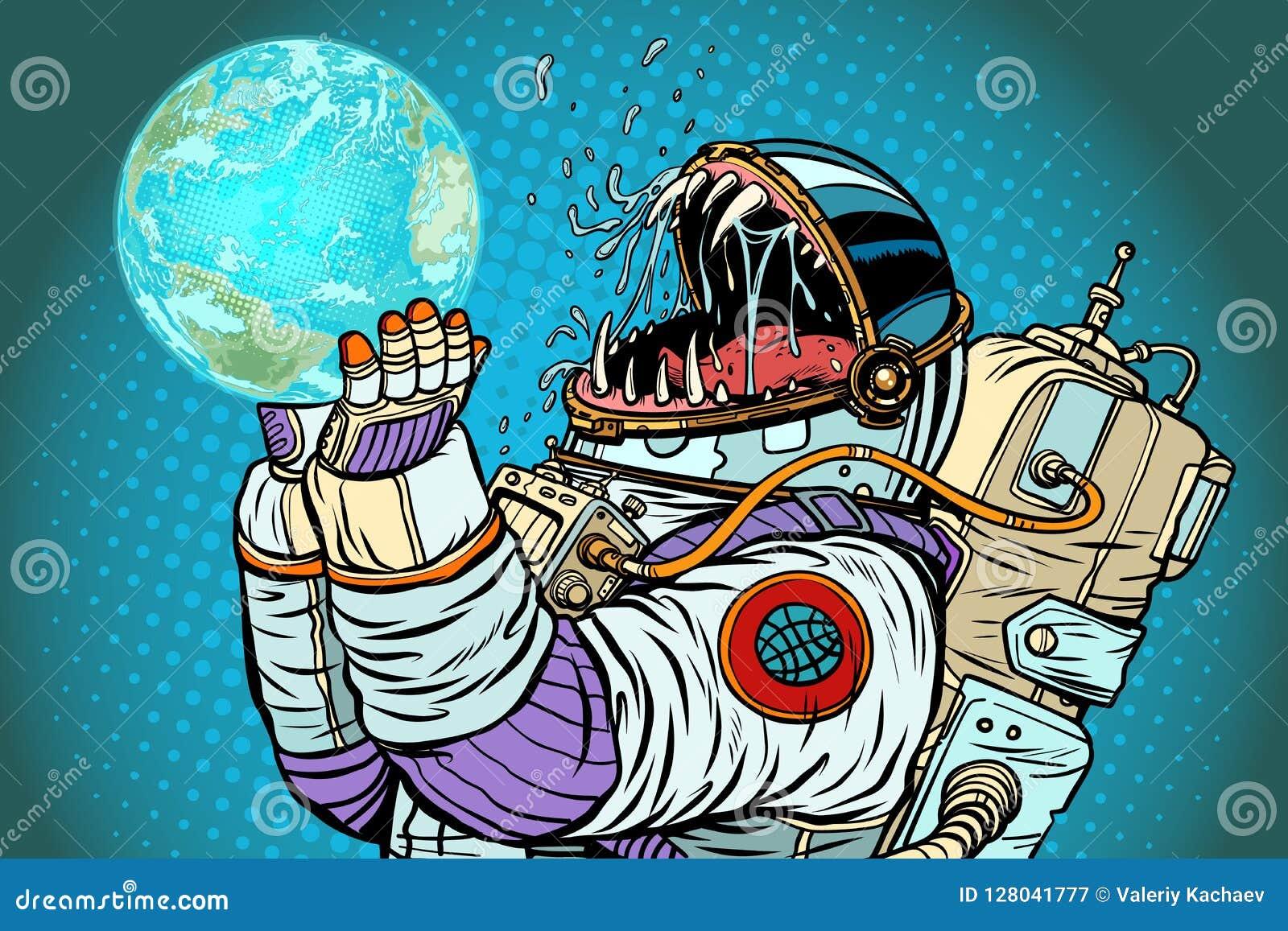 Планета земли изверга астронавта Жадность и голод человечества conc