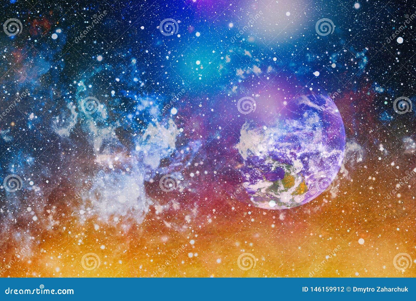 Планеты, звезды и галактики в космическом пространстве показывая красоту космического исследования Элементы обеспечили NASA