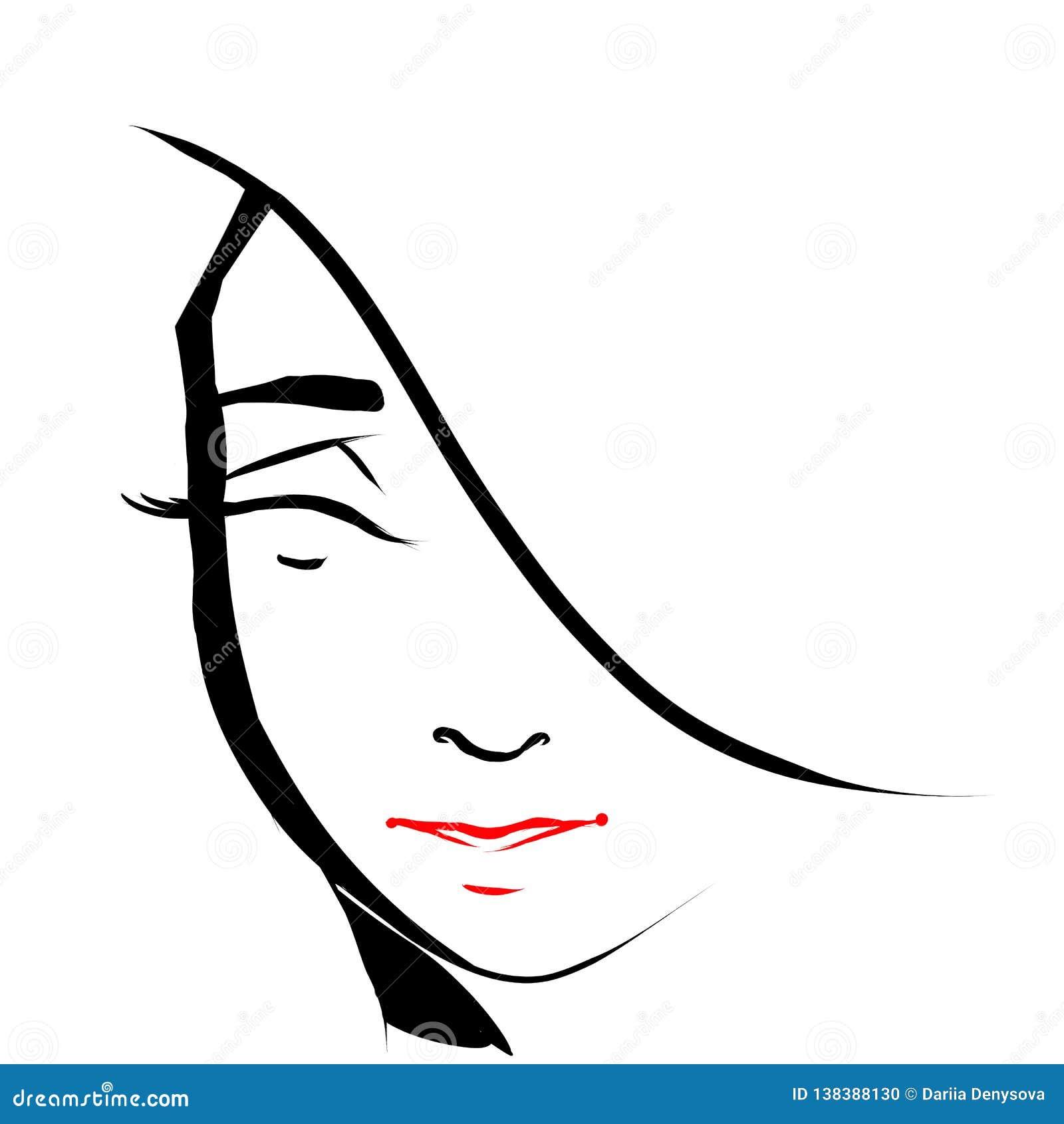План красивой девушки усмехаясь черный