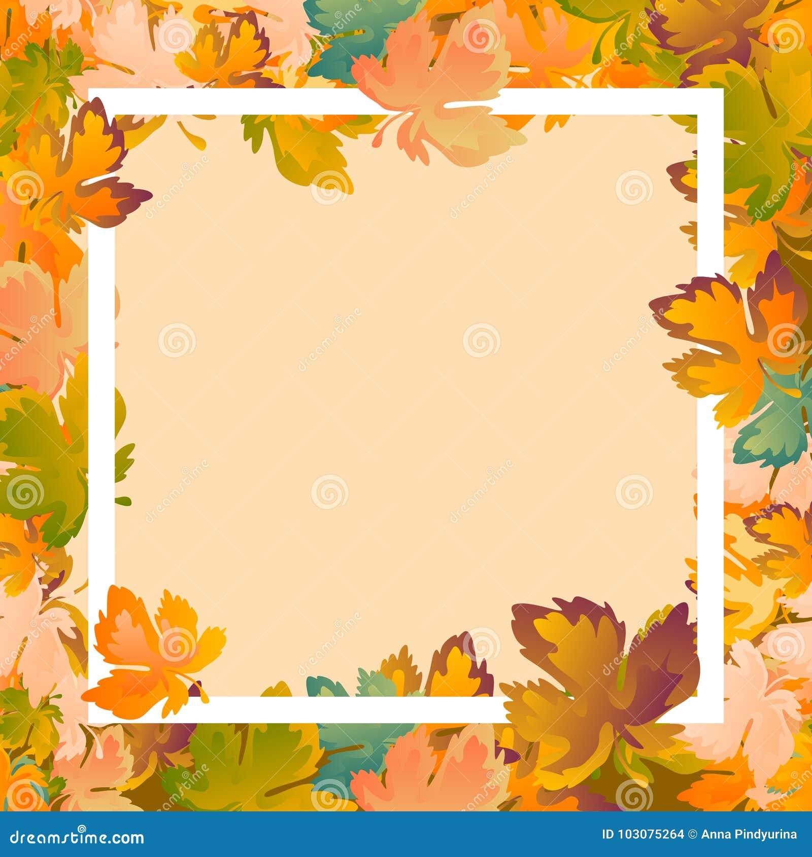 План предпосылки осени украшает плакат продажи или promo листьев ходя по магазинам и белую листовку рамки, знамя сети вектор