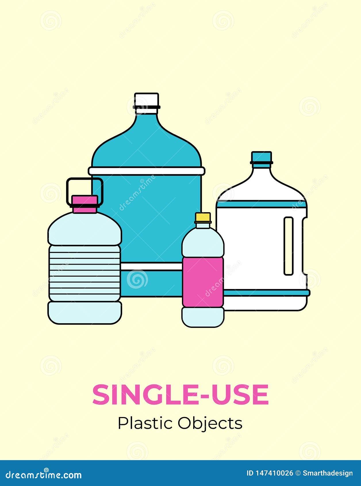 Пластиковые бутылки Иллюстрация вектора одно-пользы повторно используя пластиковые красочные бутылки Изолированная прозрачная бут