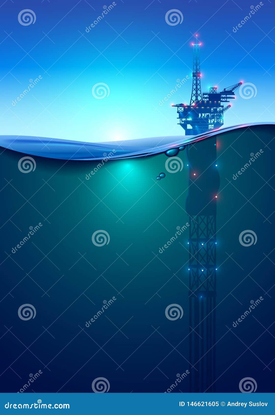 Платформа бурения в море масла в океане на зоре Красивая предпосылка для нефтедобывающей промышленности Буровая вышка Море под во