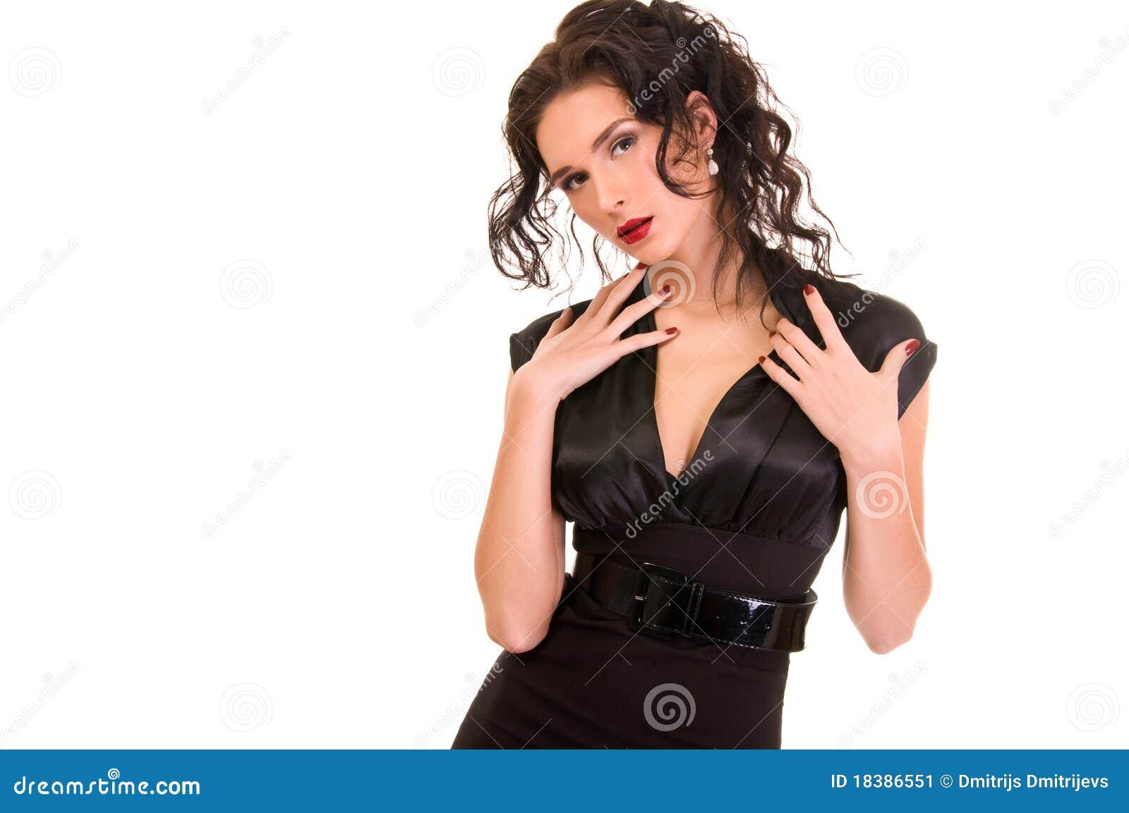 платье брюнет предпосылки над белой женщиной
