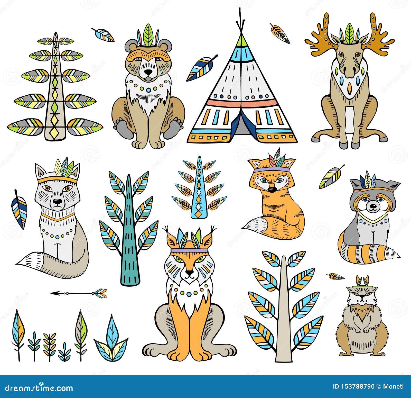 Племенное животное Собрание животных леса полесья включая медведя, рыся, барсука, бобра и лису