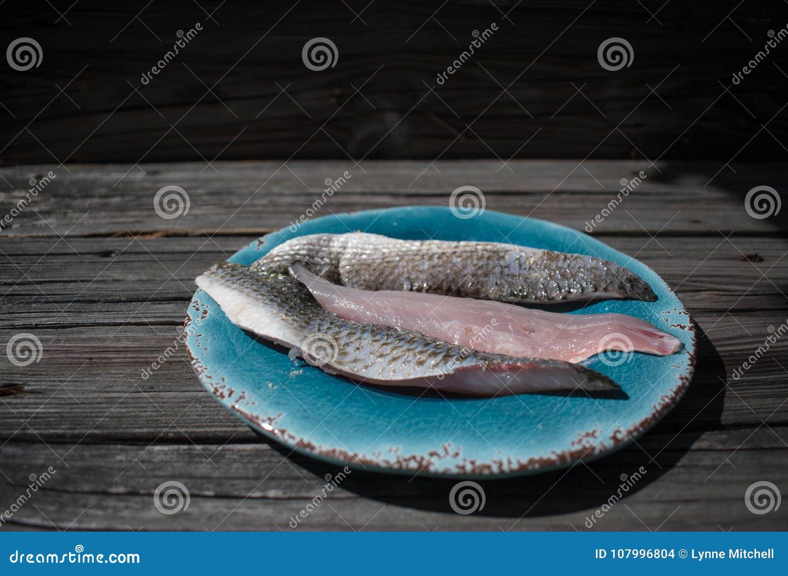 Плита морепродуктов филе свежих рыб