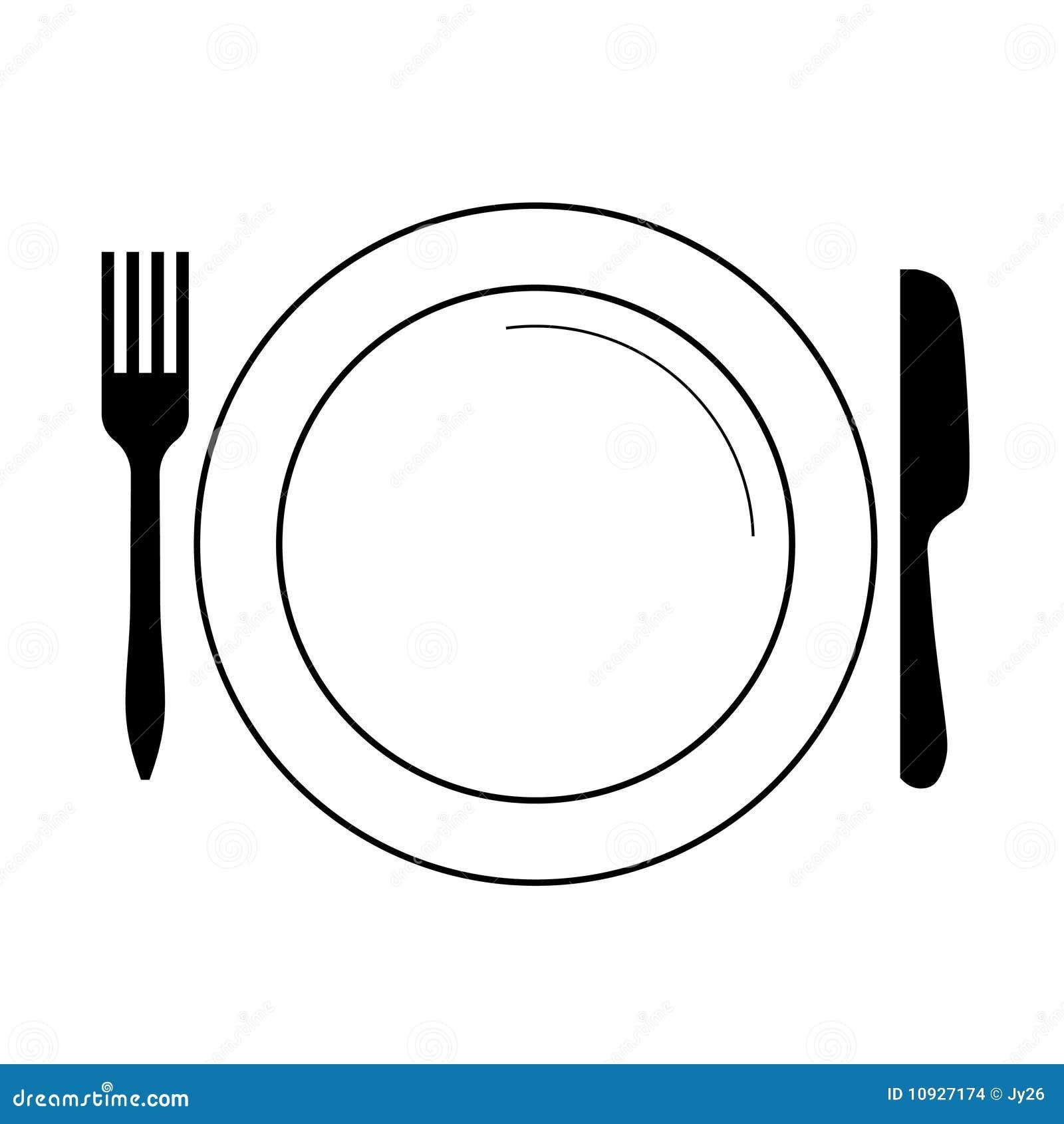 Плита с вилкой, ножом (вектором)