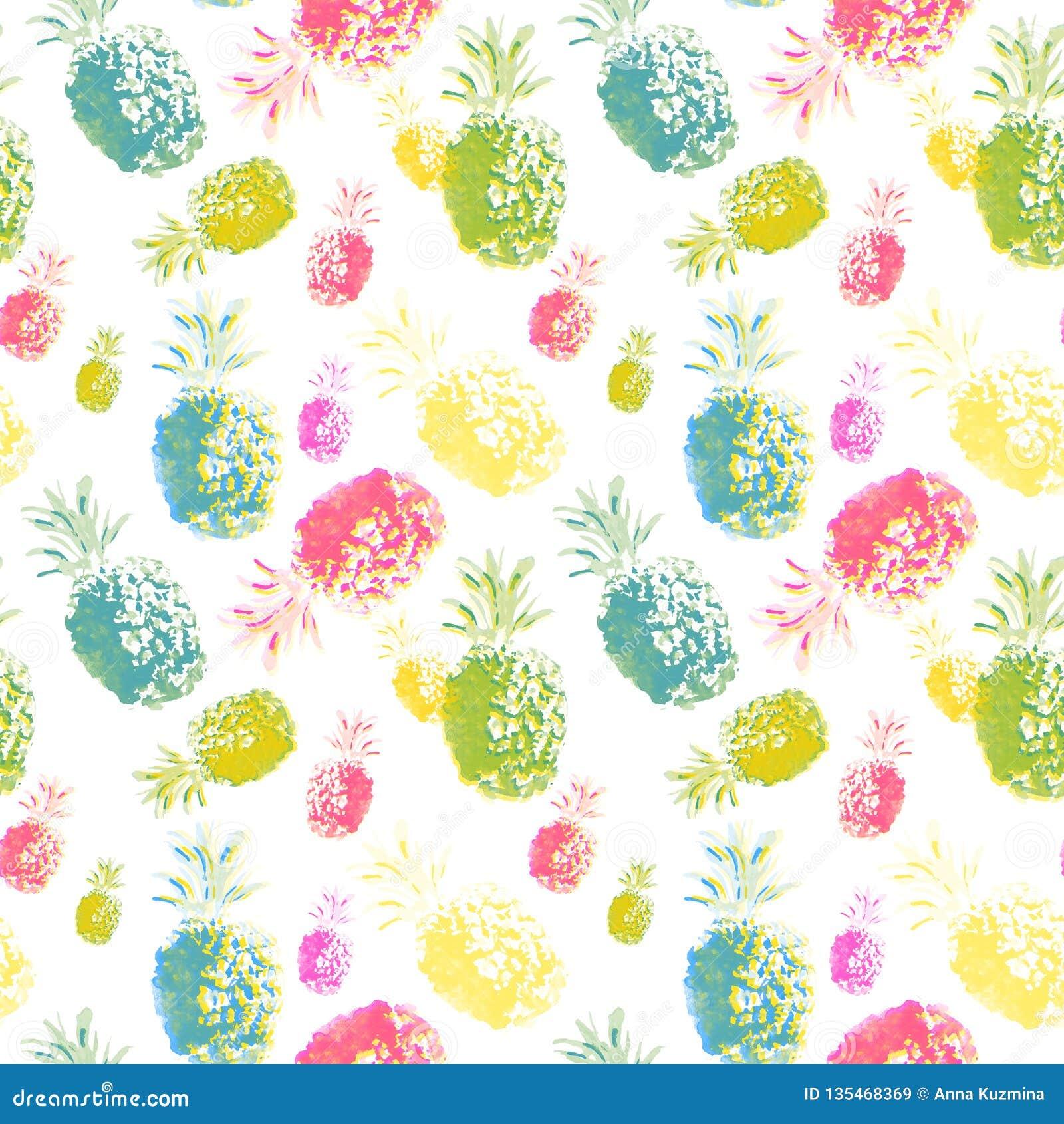 Плоды акварели тропические, красочной покрашенные рукой ананас и киви с краской брызгают на предпосылке wite