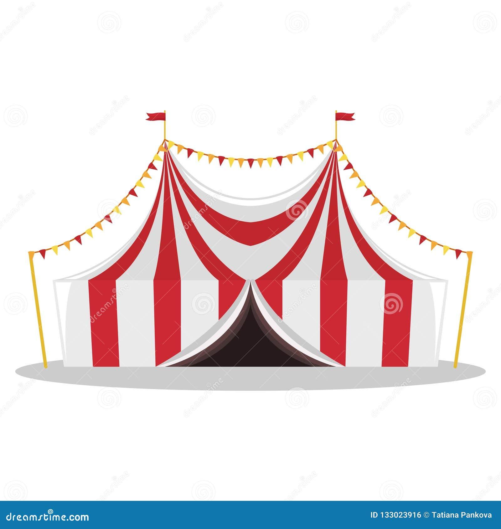 Плоская иллюстрация шатра цирка изолированная иллюстрация руки кнопки нажимающ женщину старта s