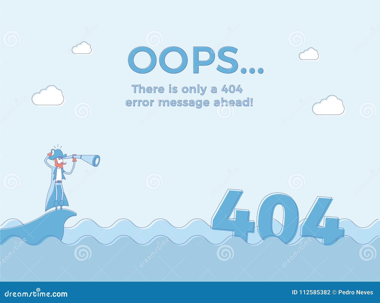 Плоская линия концепция для ошибки 404 страницы найденной Vector предпосылка иллюстрации с пиратом в море которое нашло 404