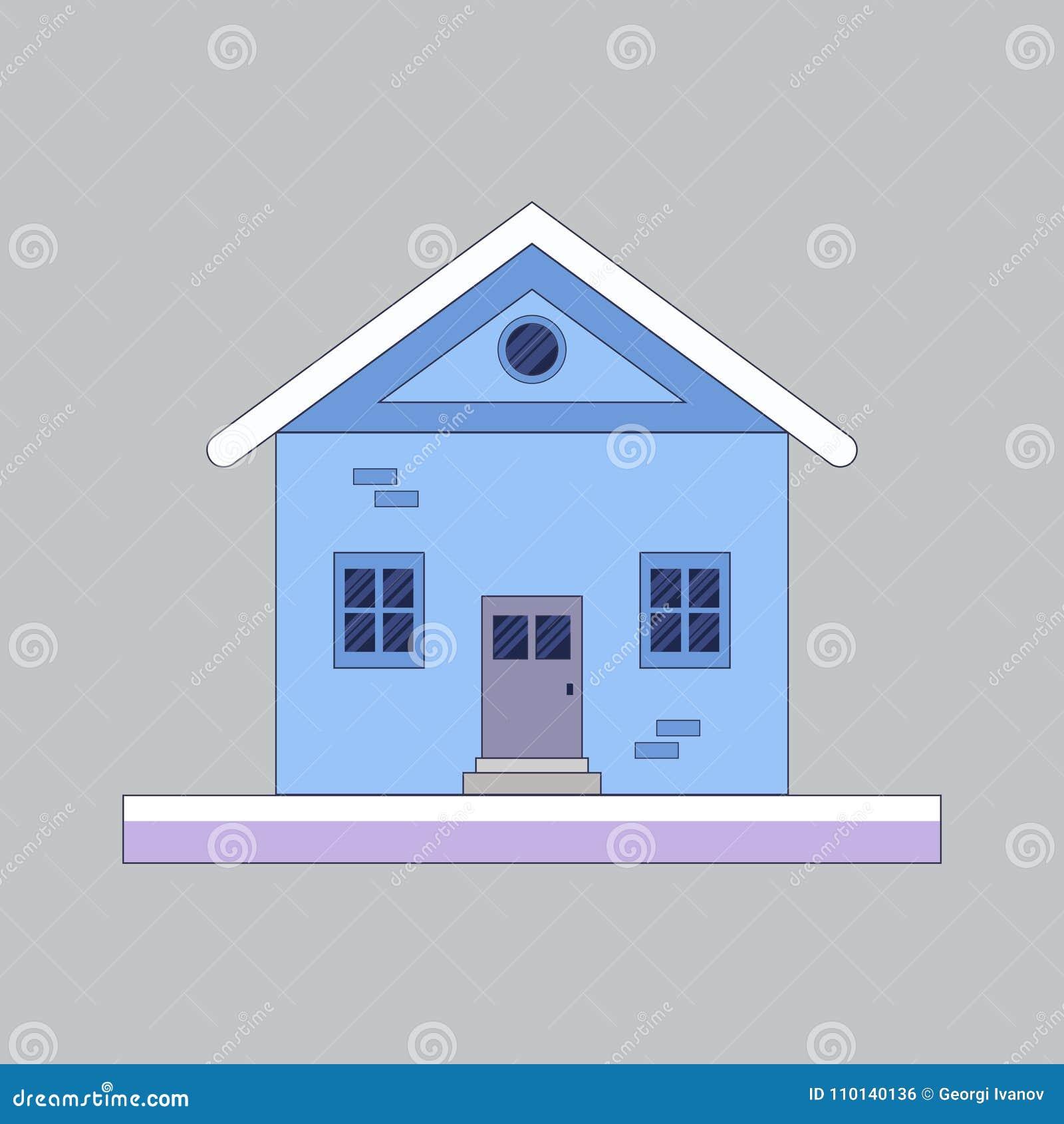 Плоская, малая иллюстрация дома зимы покрытый снежок