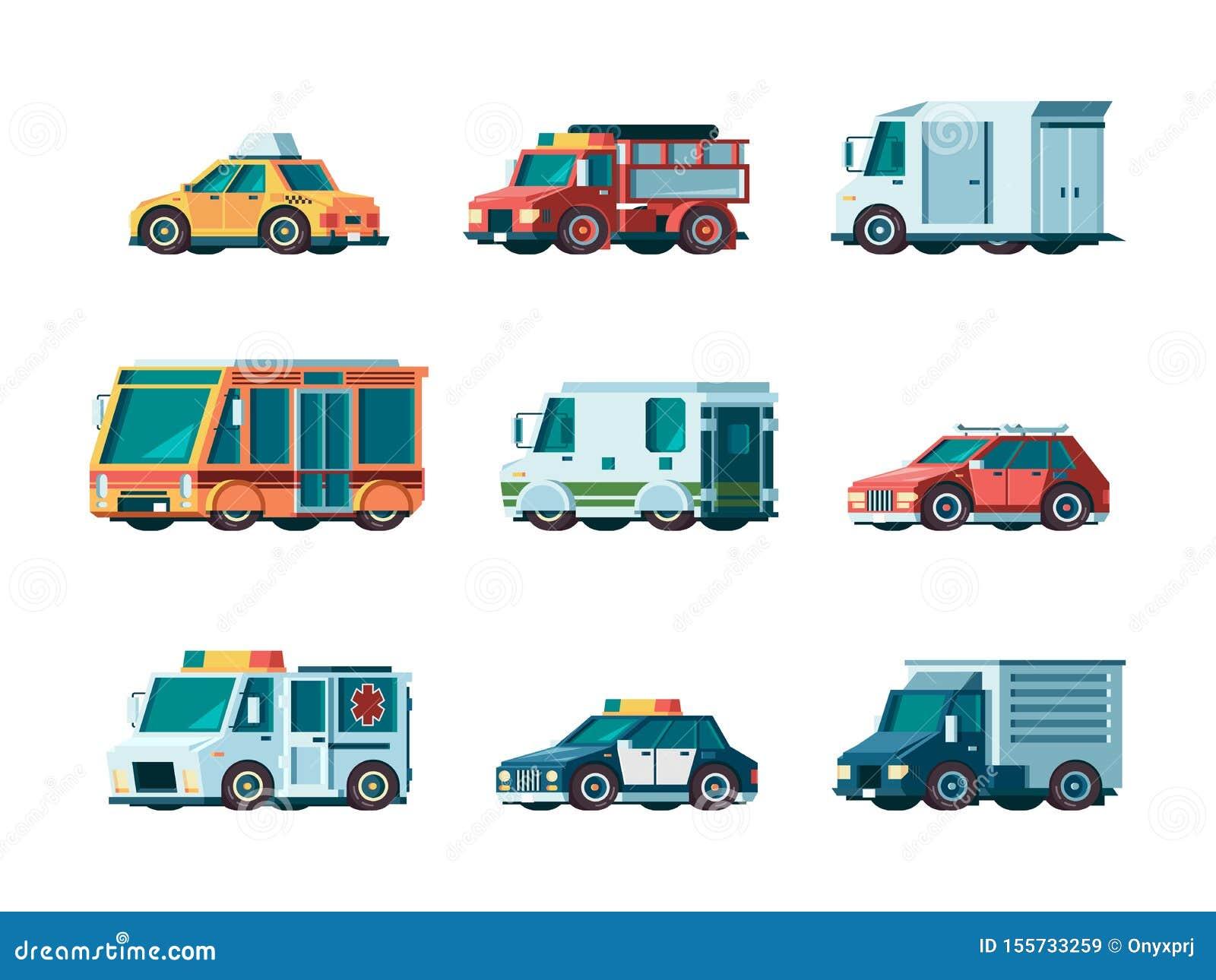 Плоские автомобили Вектор автомобиля автобуса и сборника тележки такси почтового отделения полиции машины скорой помощи огня кора