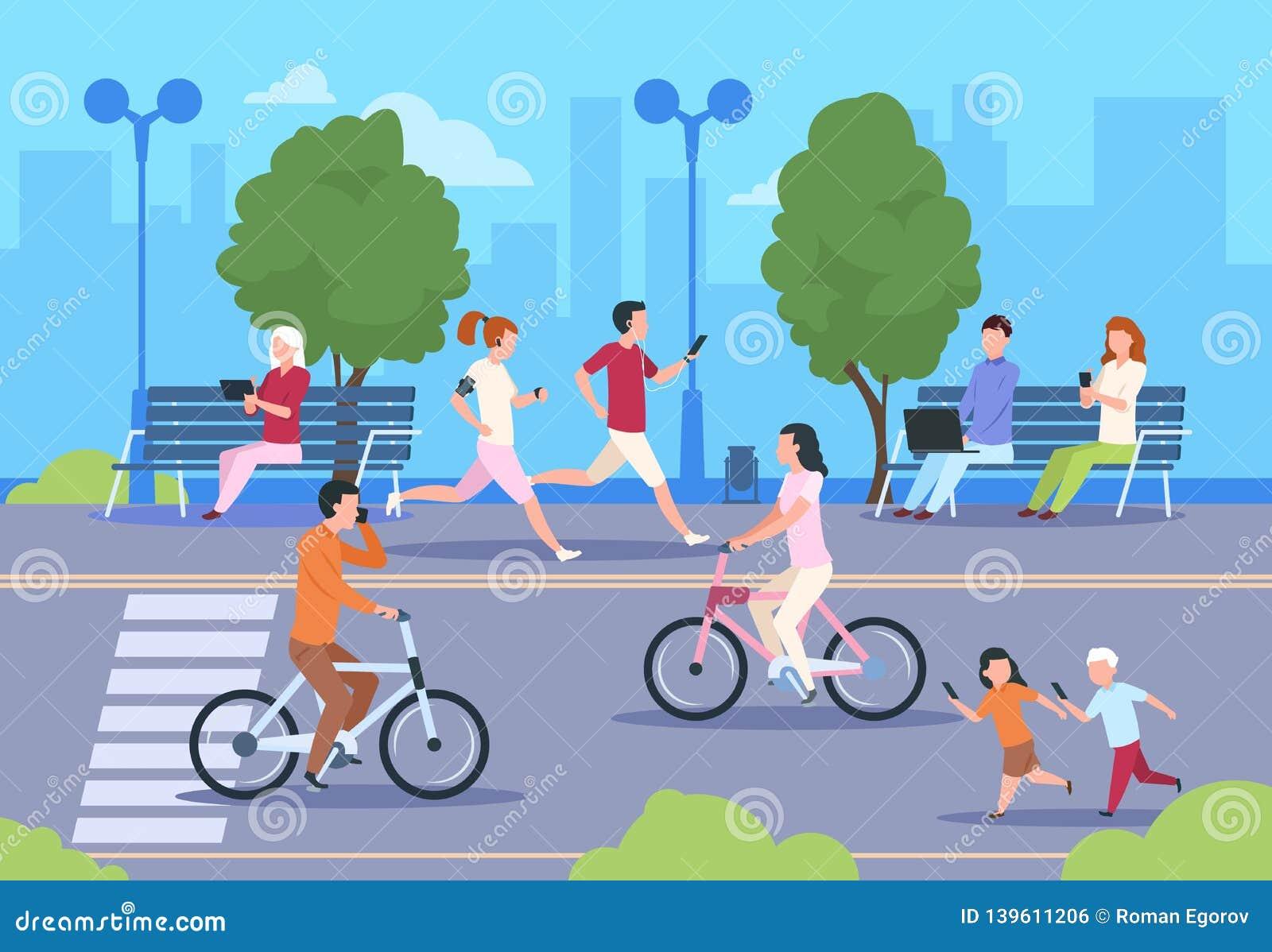 Плоские горожане улицы Велосипед ландшафта природы парка городка идет человек и женщина городского образа жизни идя улица ночи го
