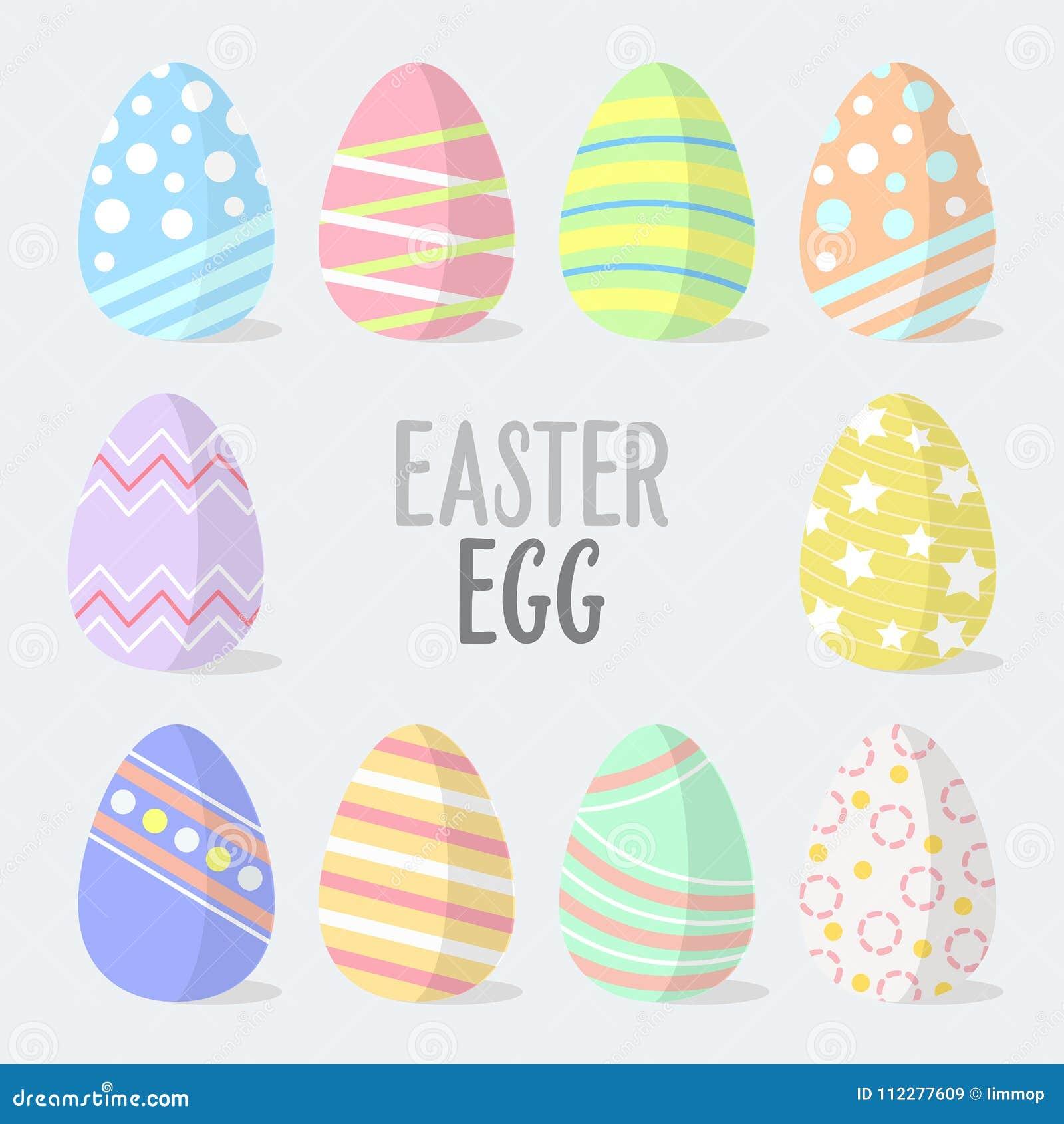 Плоские пасхальные яйца вектора дизайна Значки пасхальных яя также вектор иллюстрации притяжки corel Пасхальные яйца на праздники